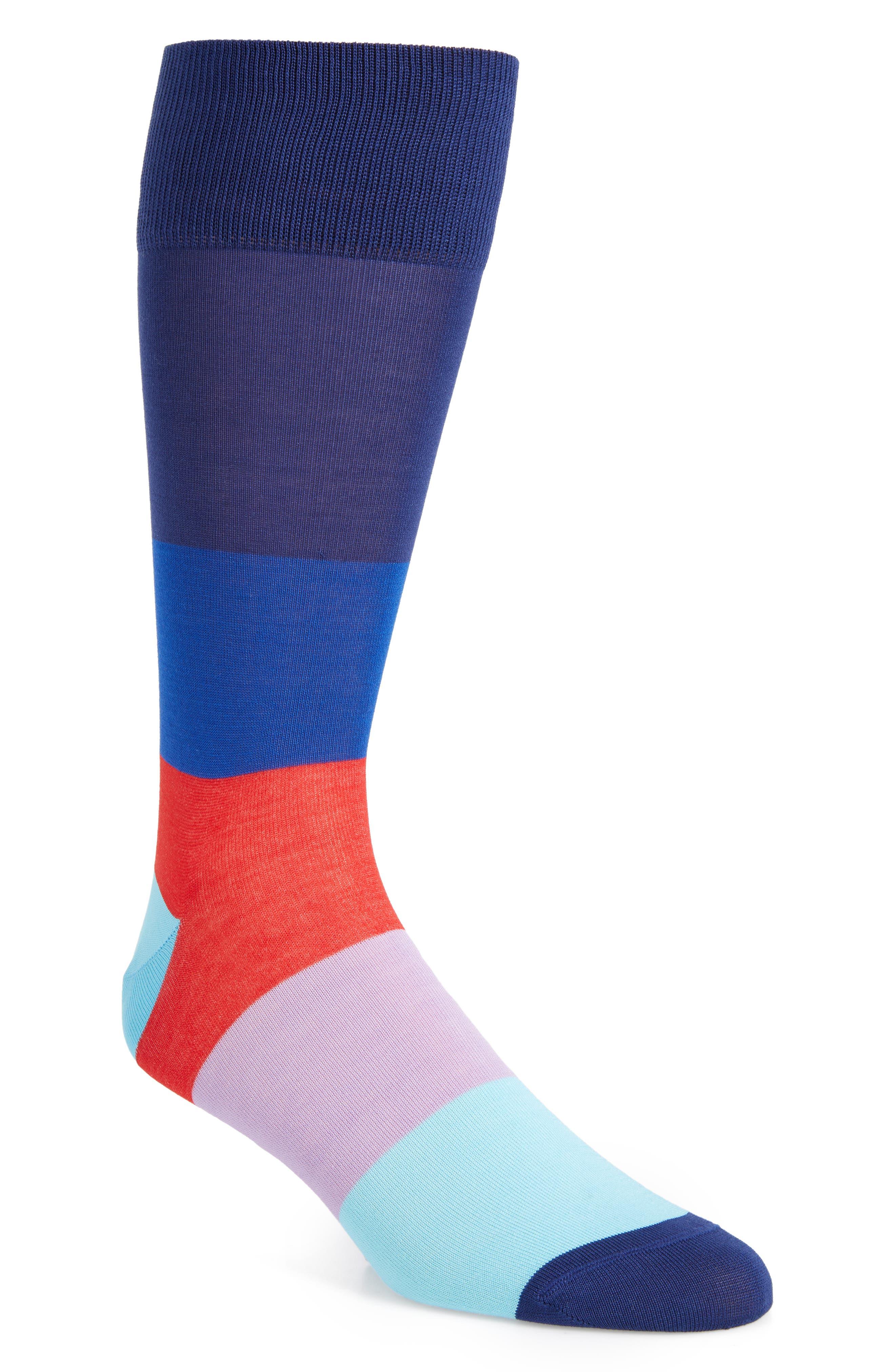 Blocked Ombré Socks,                         Main,                         color, NAVY/ FUCHSIA