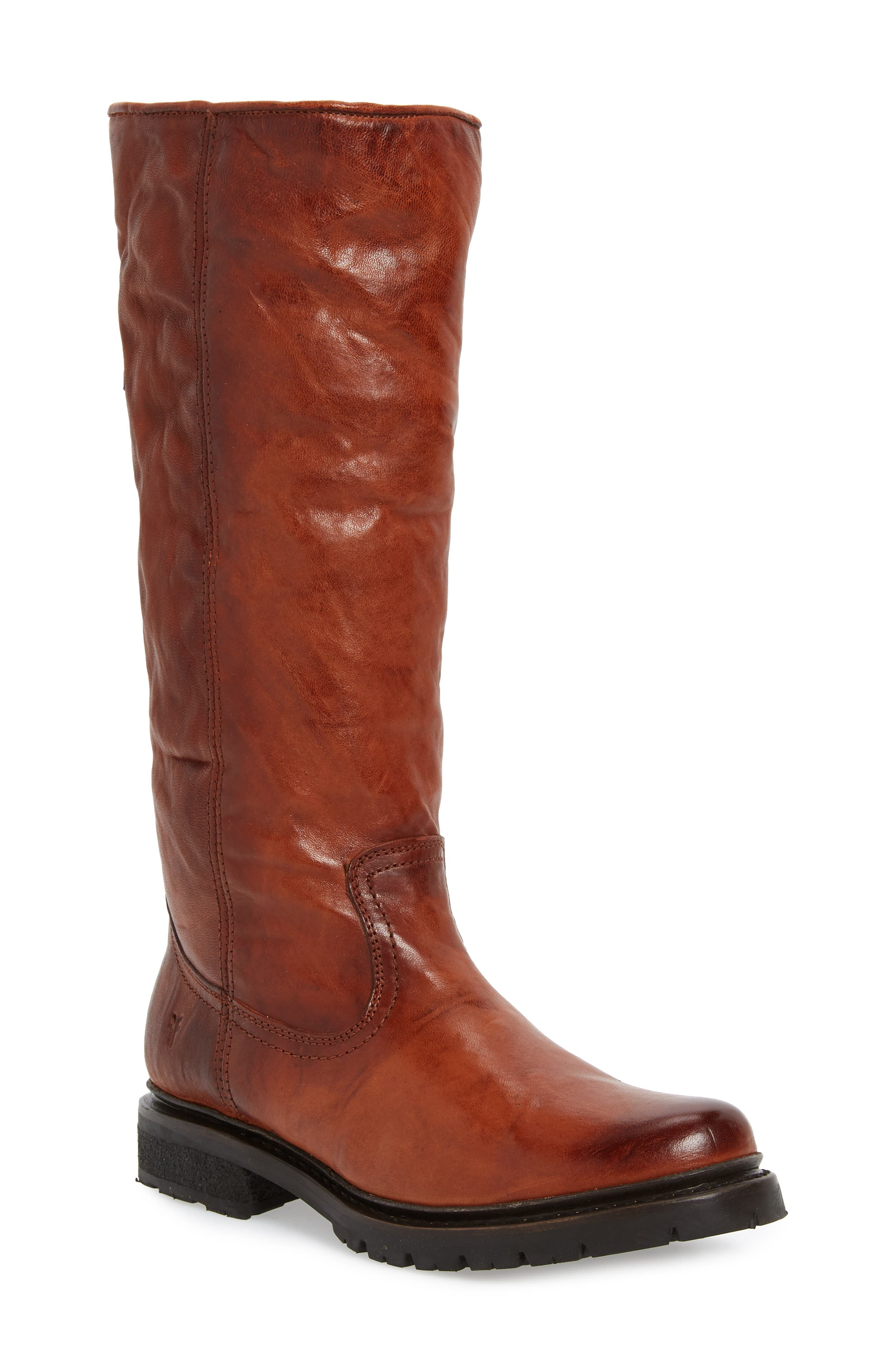 Vanessa Genuine Shearling Lined Knee High Boot in Cognac Leather