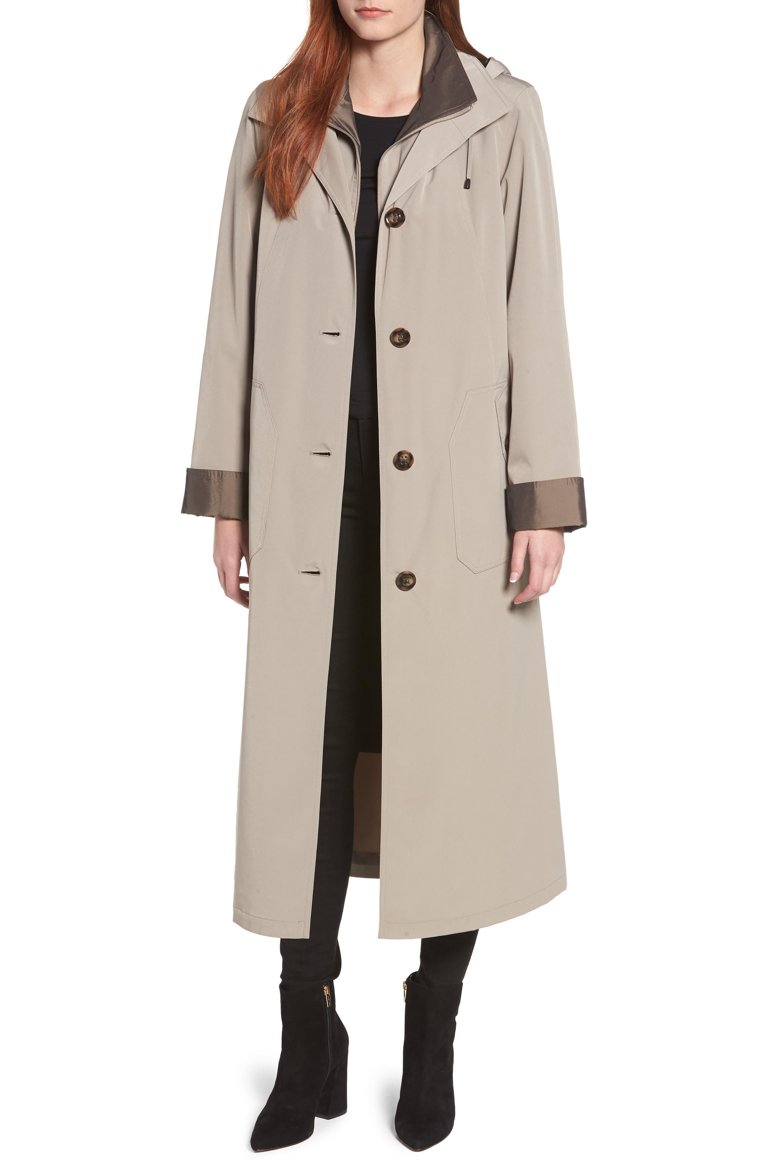 Full Length Two-Tone Silk Look Raincoat,                         Main,                         color, MUSHROOM