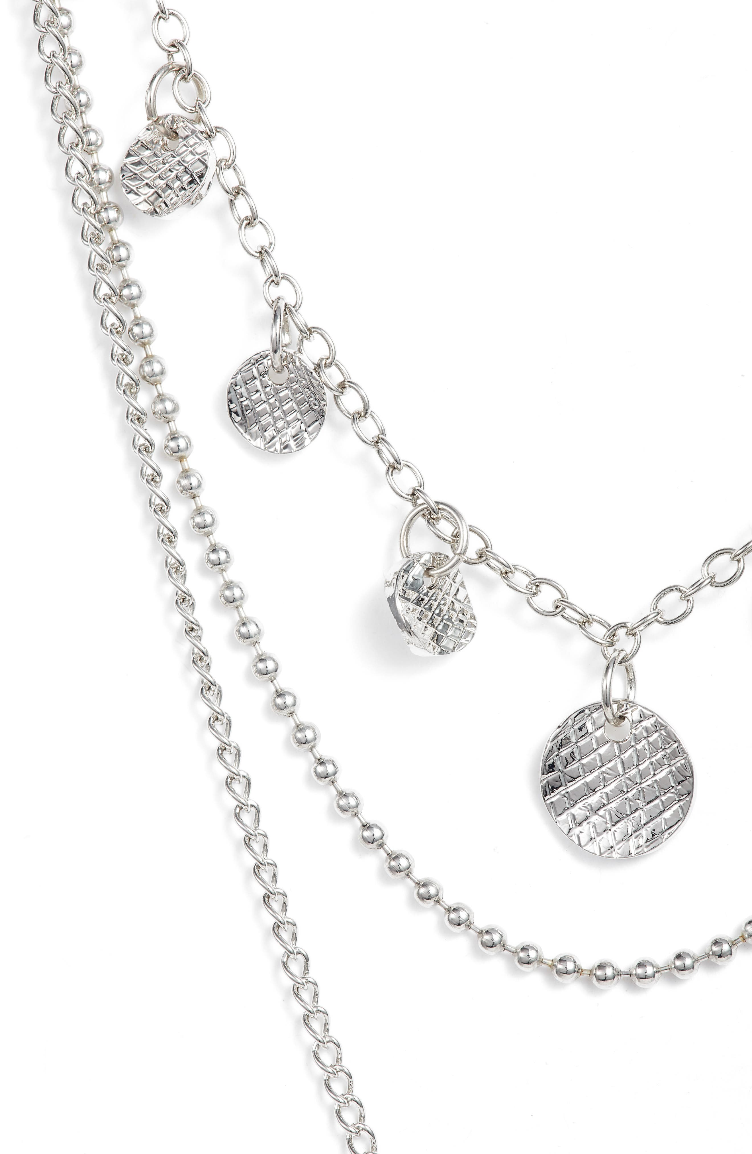 Layered Lariat Necklace,                             Alternate thumbnail 2, color,                             SILVER