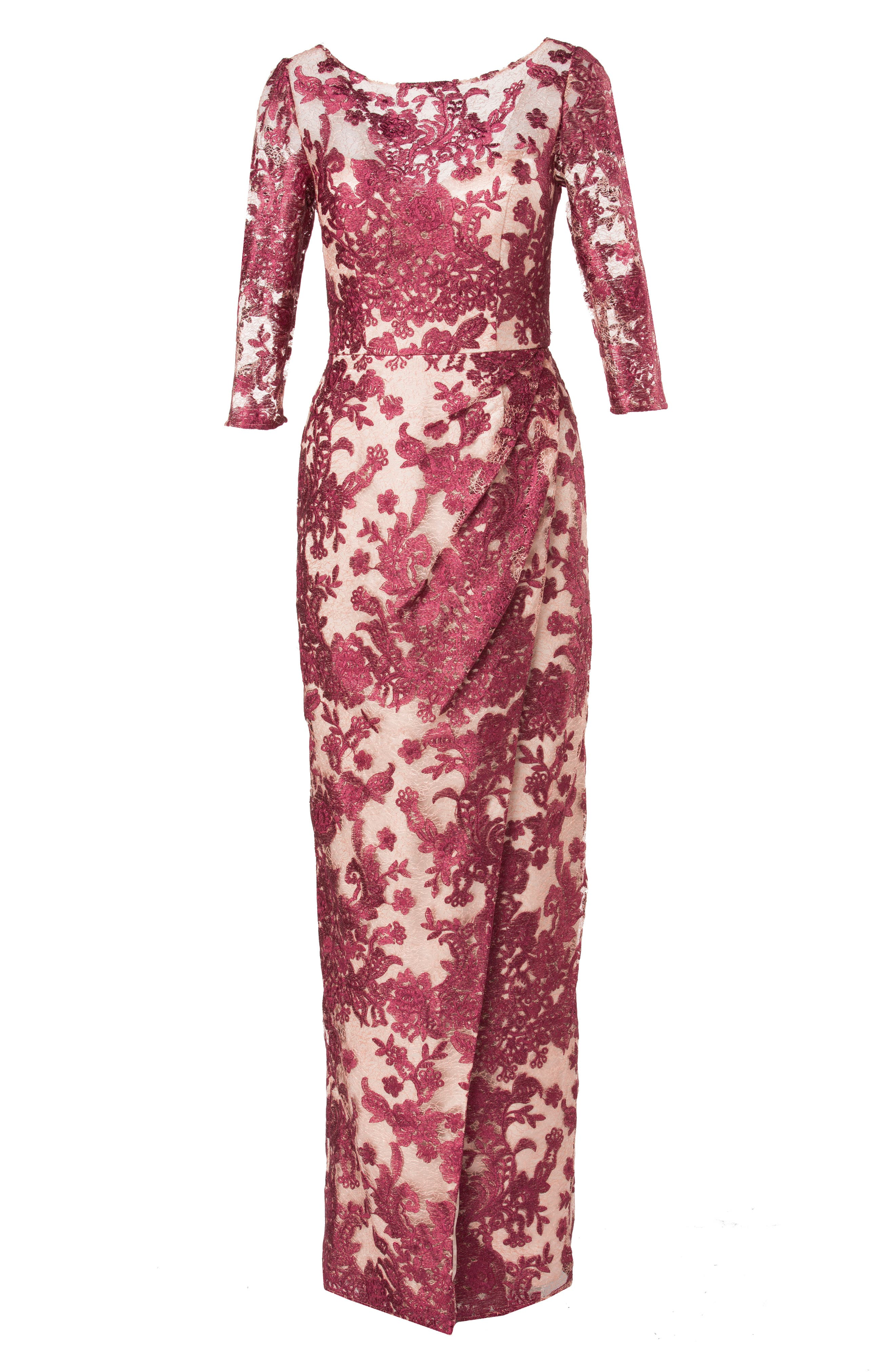 Embroidered Lace Gown,                             Alternate thumbnail 4, color,                             WINE/ ROSE