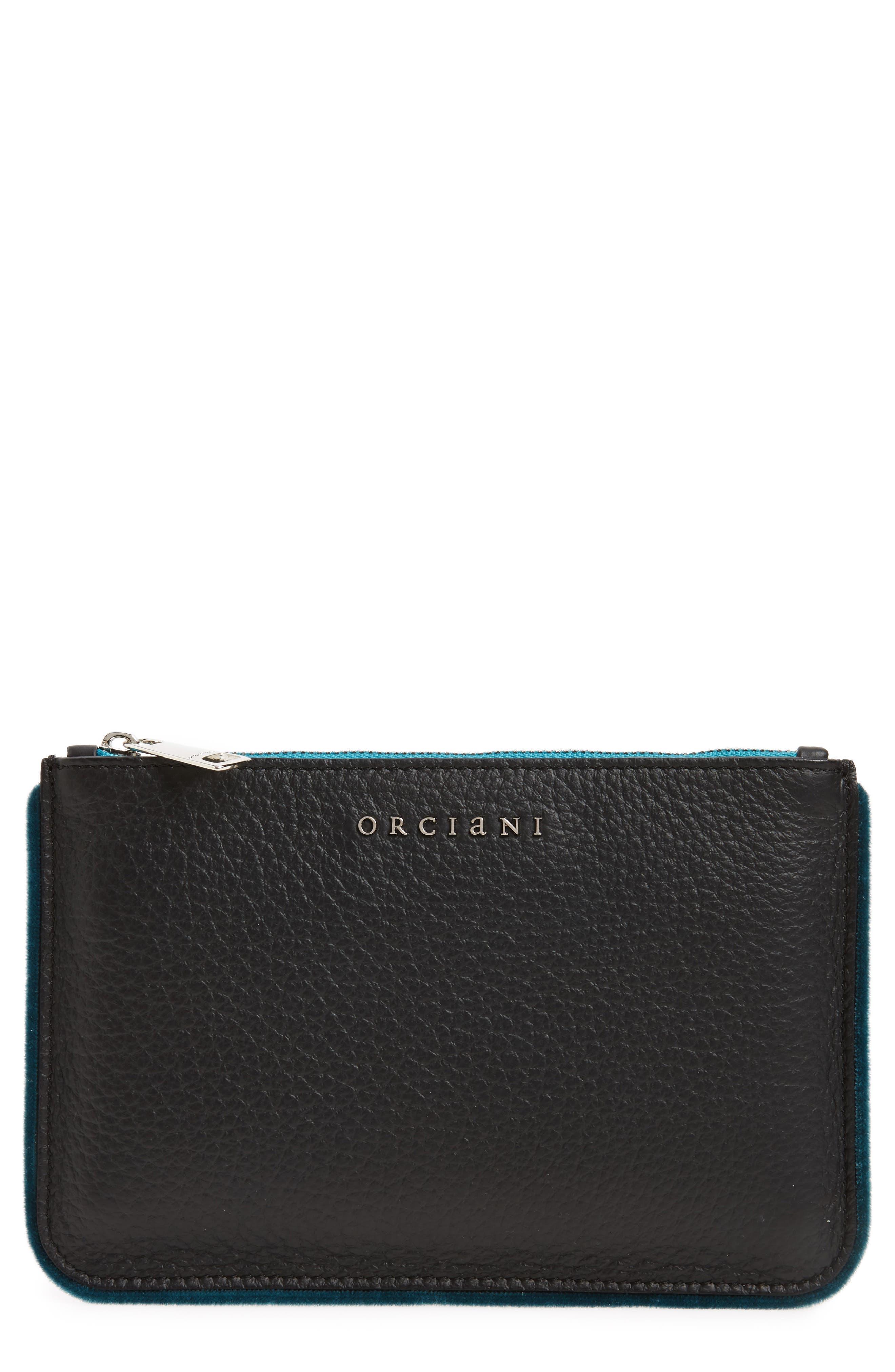Large Soft Line Velvet Trim Calfskin Leather Pouch,                         Main,                         color,
