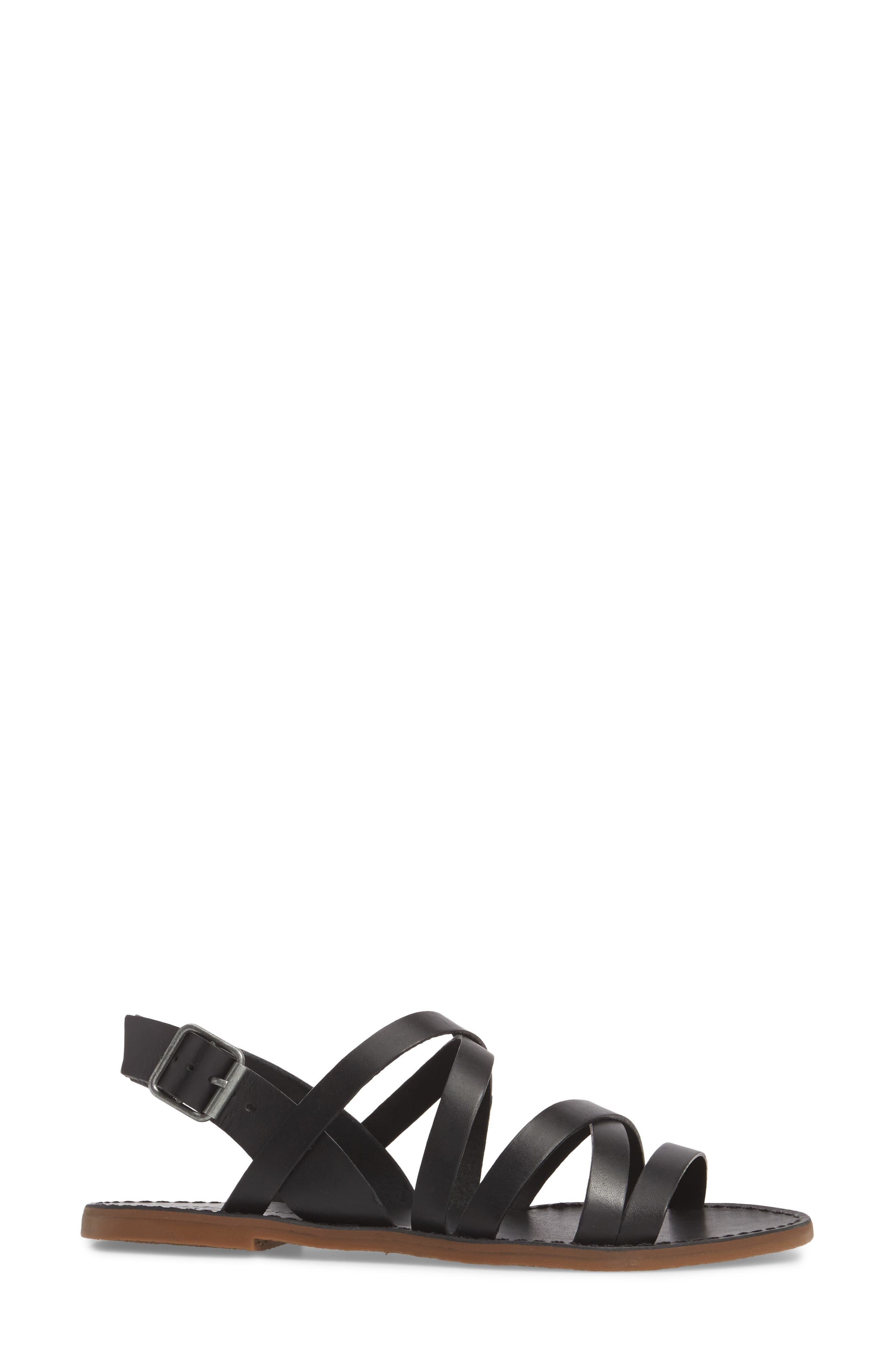The Boardwalk Multistrap Sandal,                             Alternate thumbnail 3, color,                             TRUE BLACK LEATHER