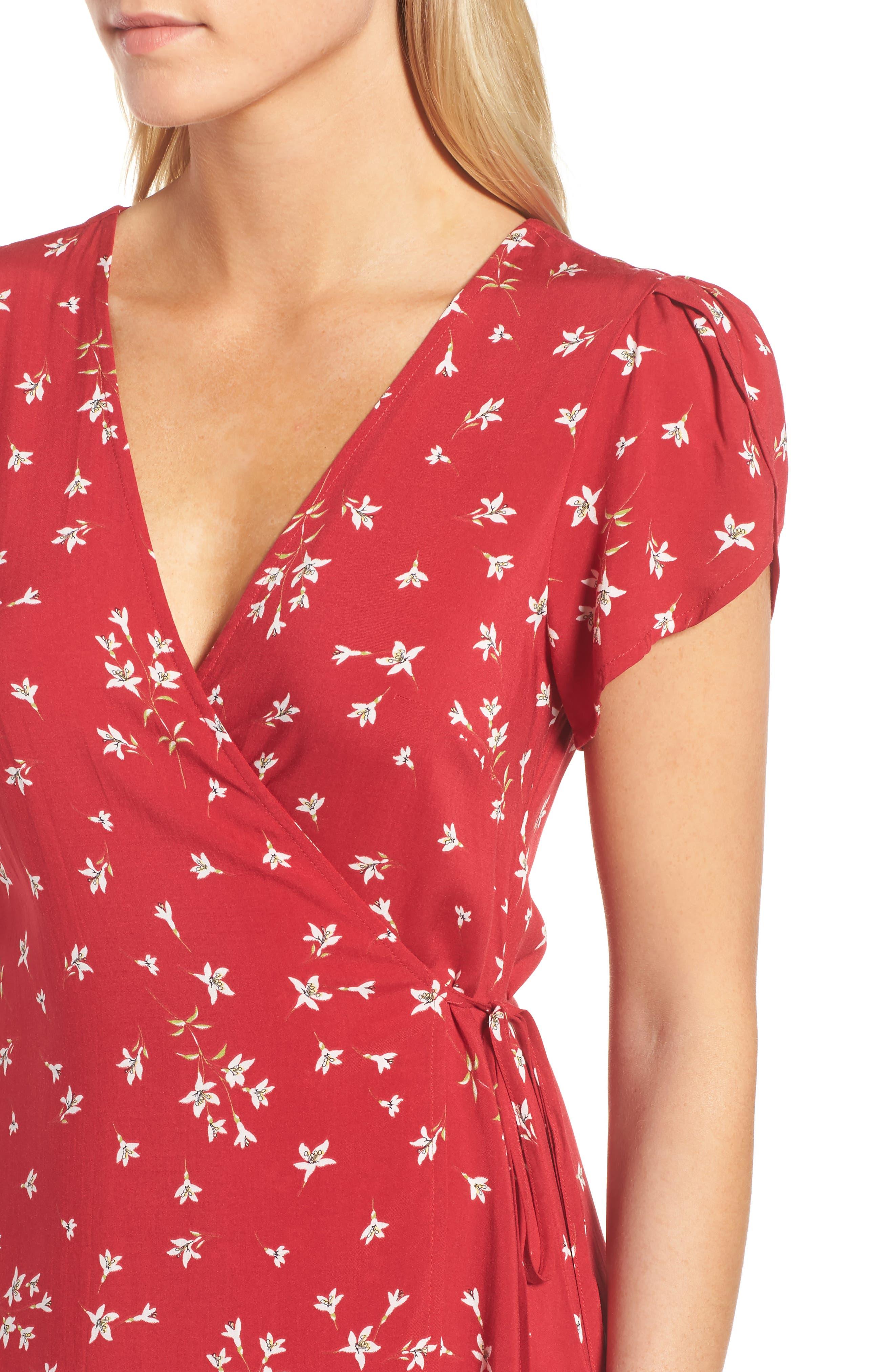 Spring Floral Wrap Dress,                             Alternate thumbnail 4, color,                             600
