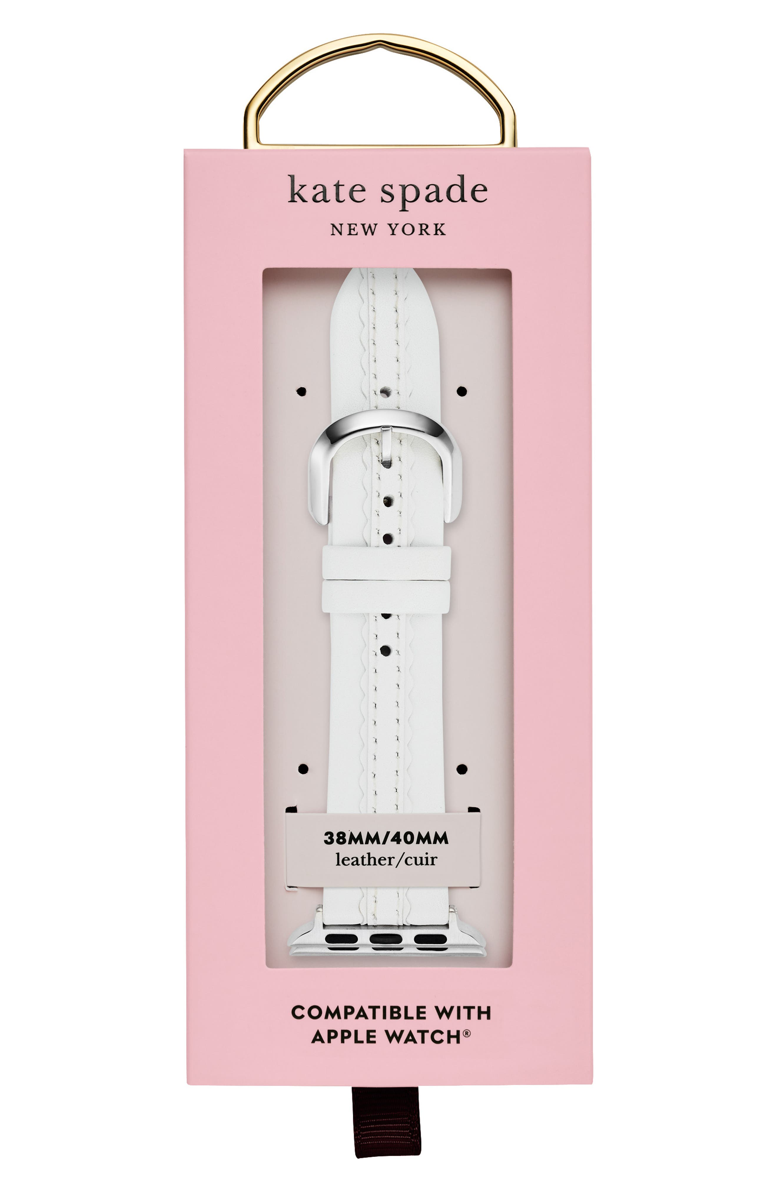 KATE SPADE NEW YORK,                             Apple Watch strap, 38mm,                             Alternate thumbnail 2, color,                             WHITE