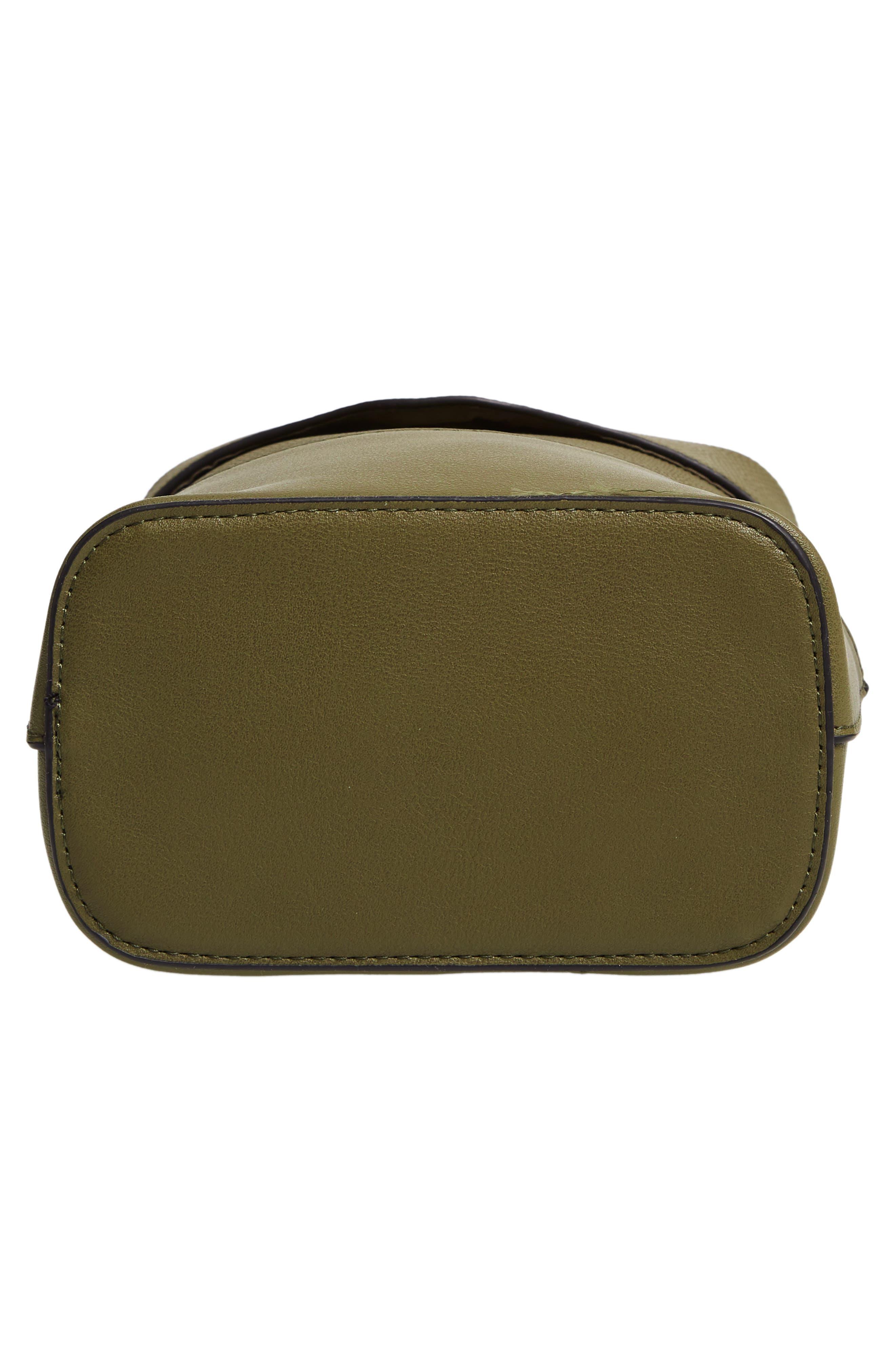 Bicolor Faux Leather Cylinder Bag,                             Alternate thumbnail 6, color,                             OLIVE
