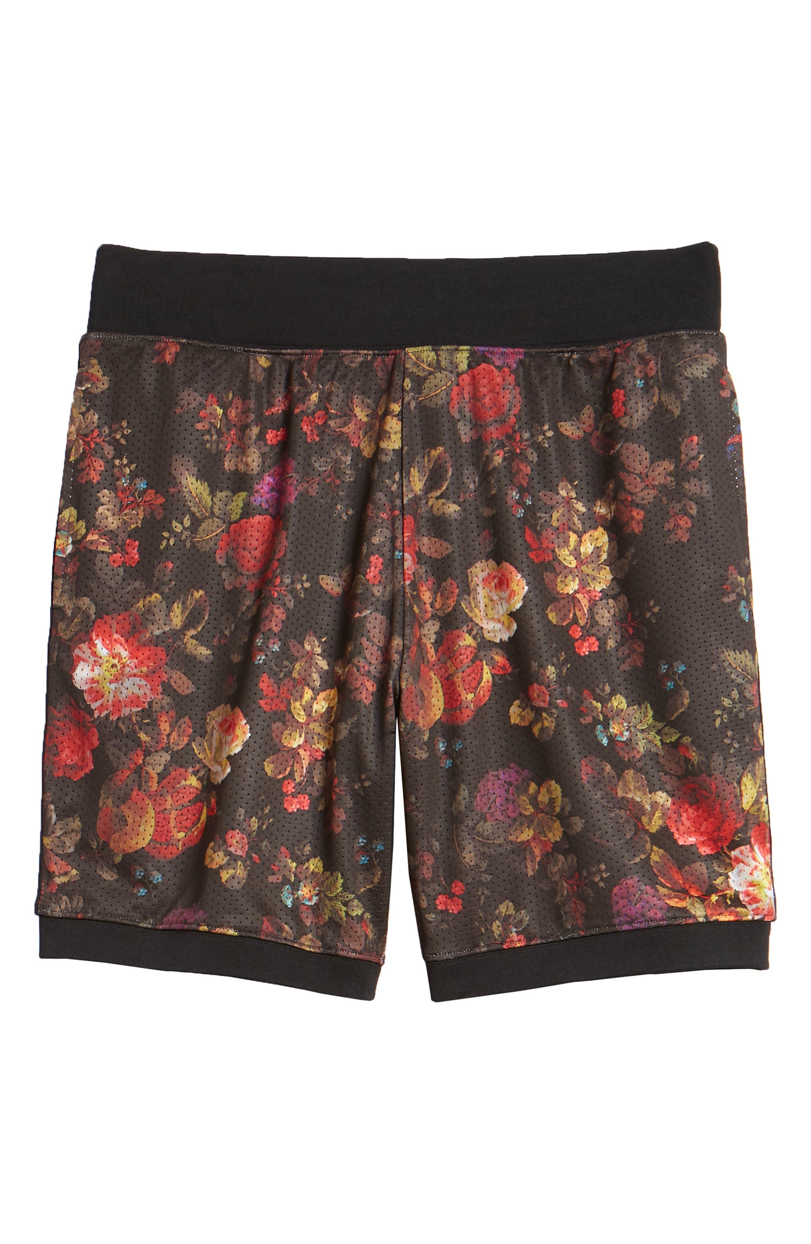 Dry Floral Shorts,                             Alternate thumbnail 6, color,                             BLACK/ WHITE