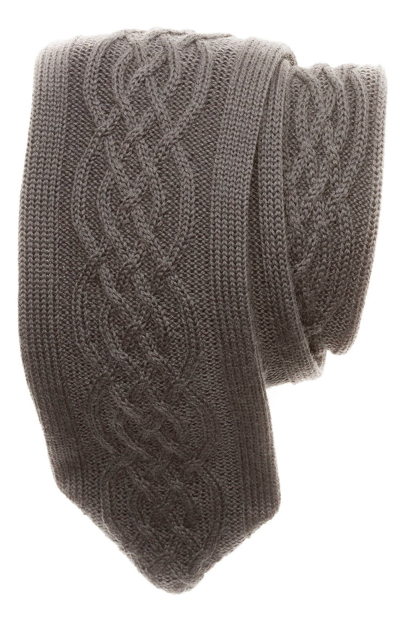 Cable Knit Wool Tie,                             Main thumbnail 1, color,                             020