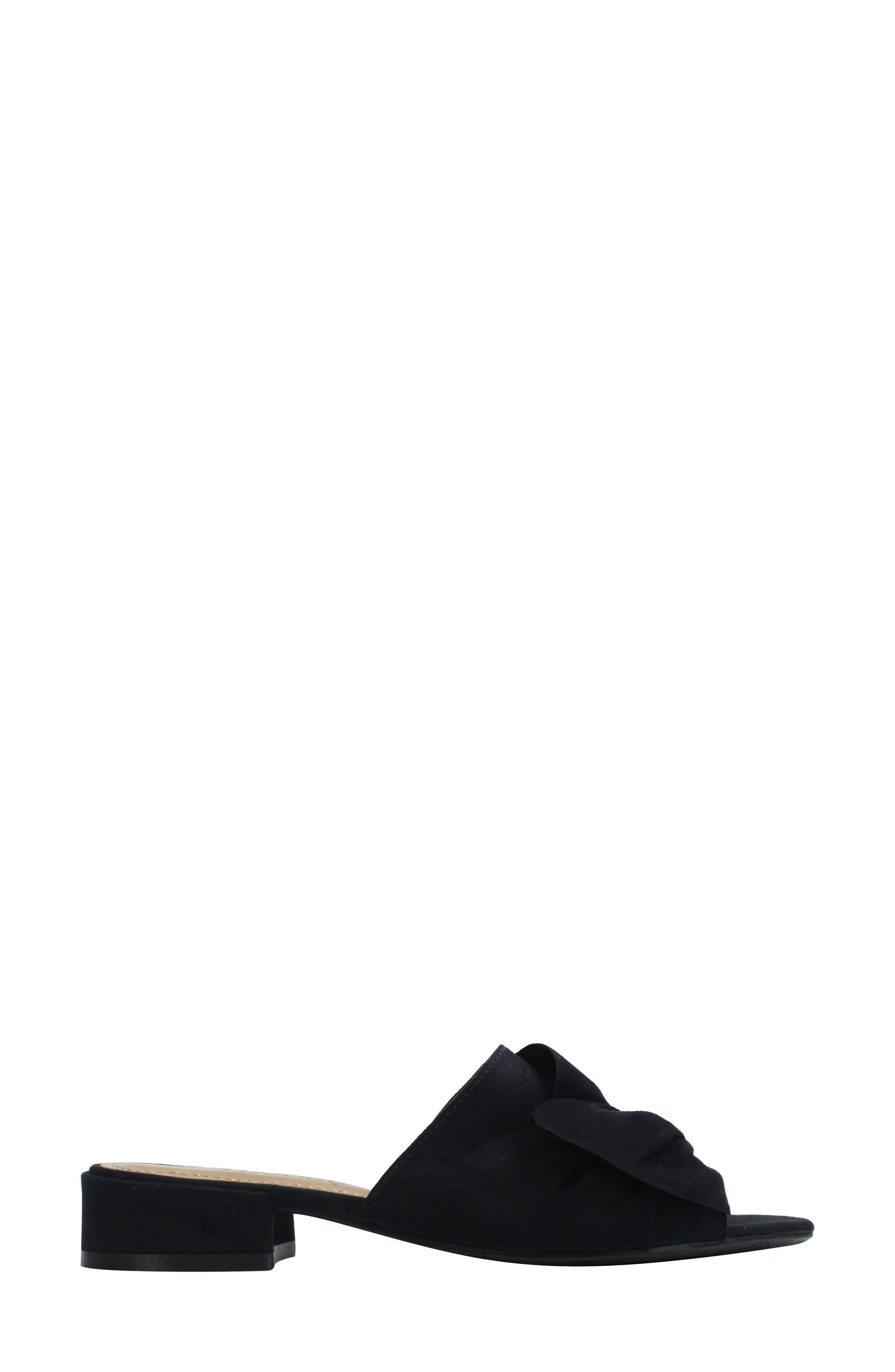 Sattuck Slide Sandal,                             Alternate thumbnail 3, color,                             BLACK FABRIC