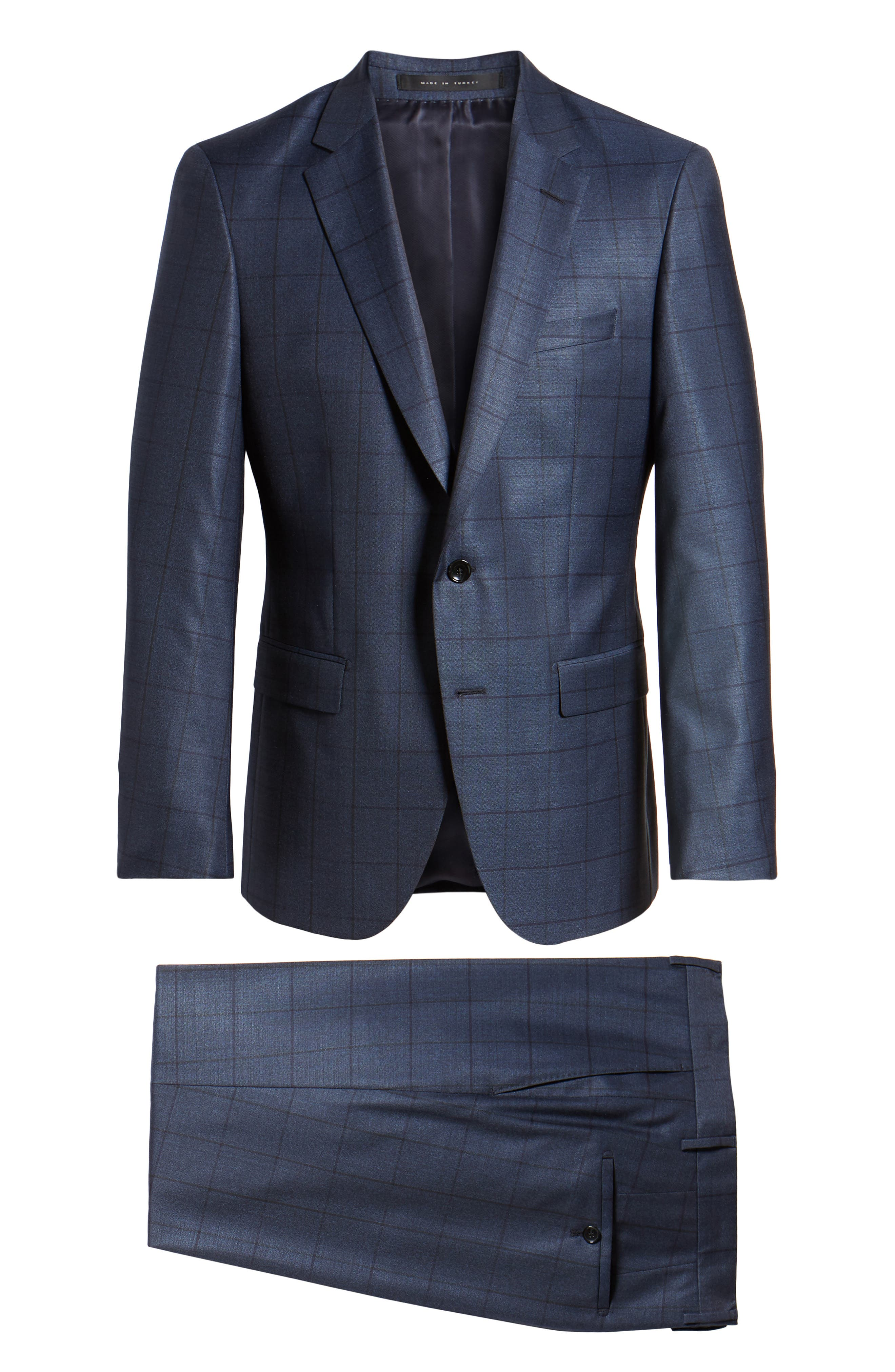 Harvers/Glover Trim Fit Windowpane Wool & Silk Suit,                             Alternate thumbnail 8, color,                             OPEN BLUE