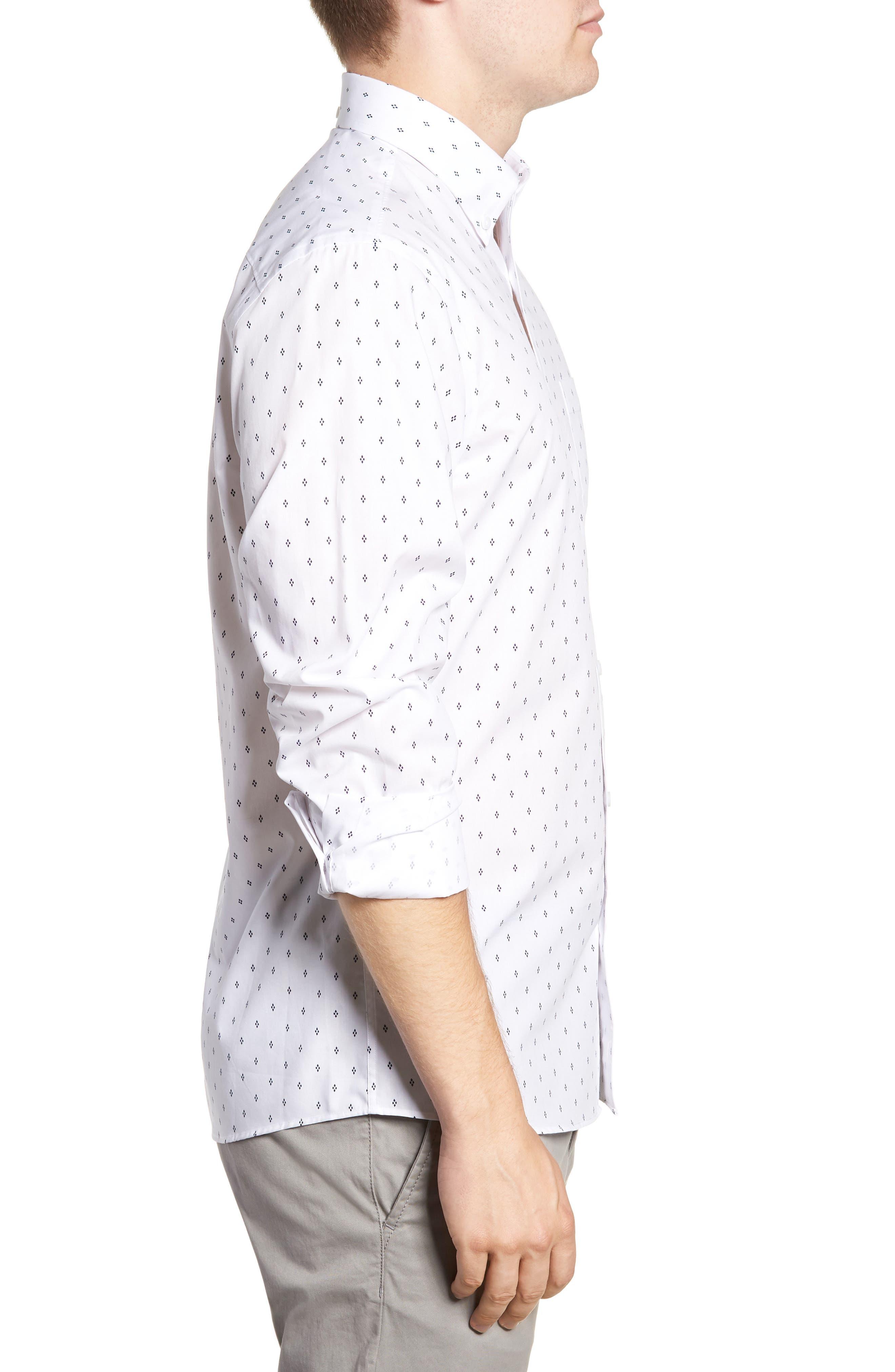 Slim Fit Non-Iron Print Sport Shirt,                             Alternate thumbnail 3, color,                             WHITE NAVY IRIS DIAMOND