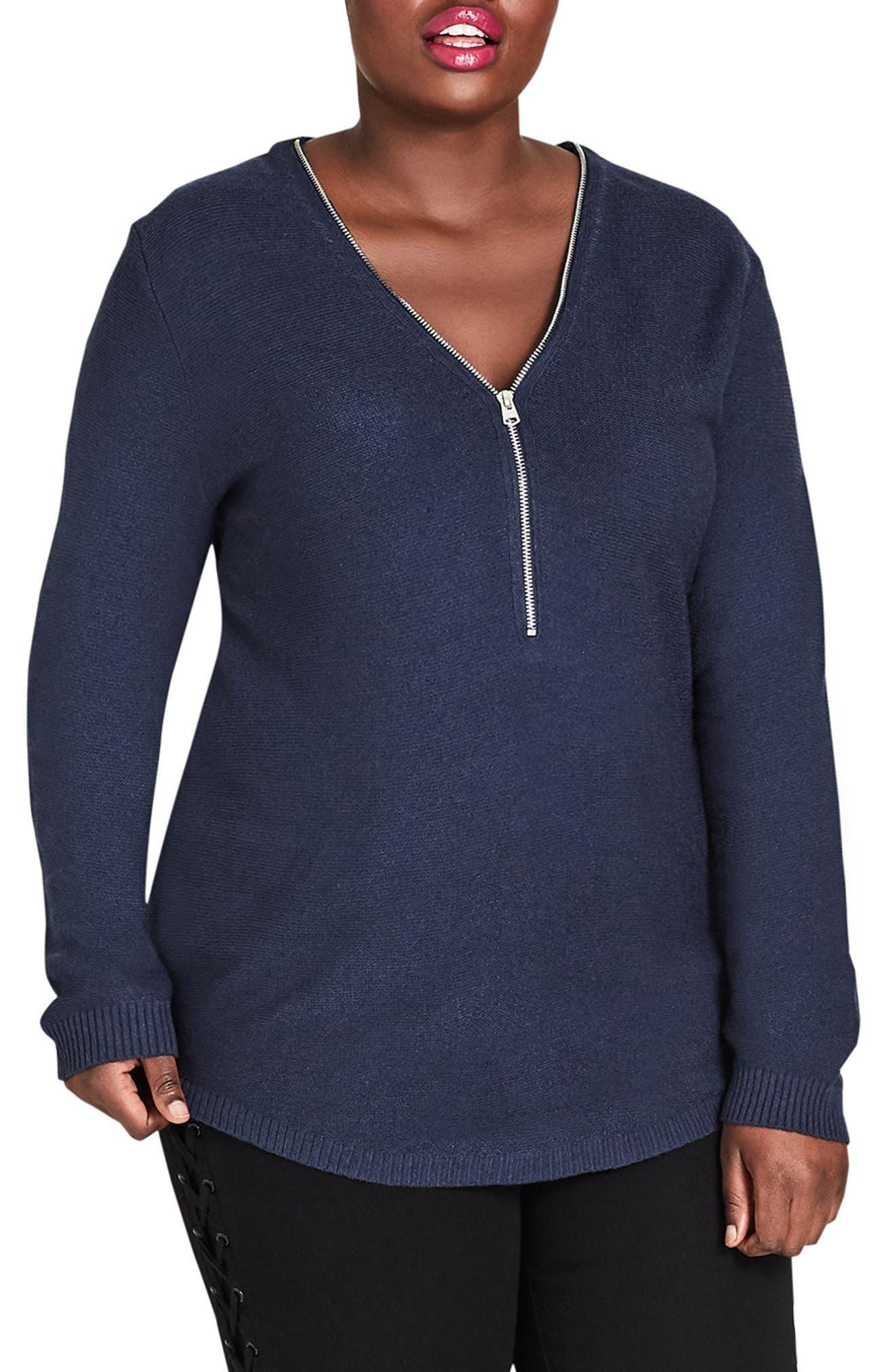 Plus Size City Chic Zip Trim Sweater