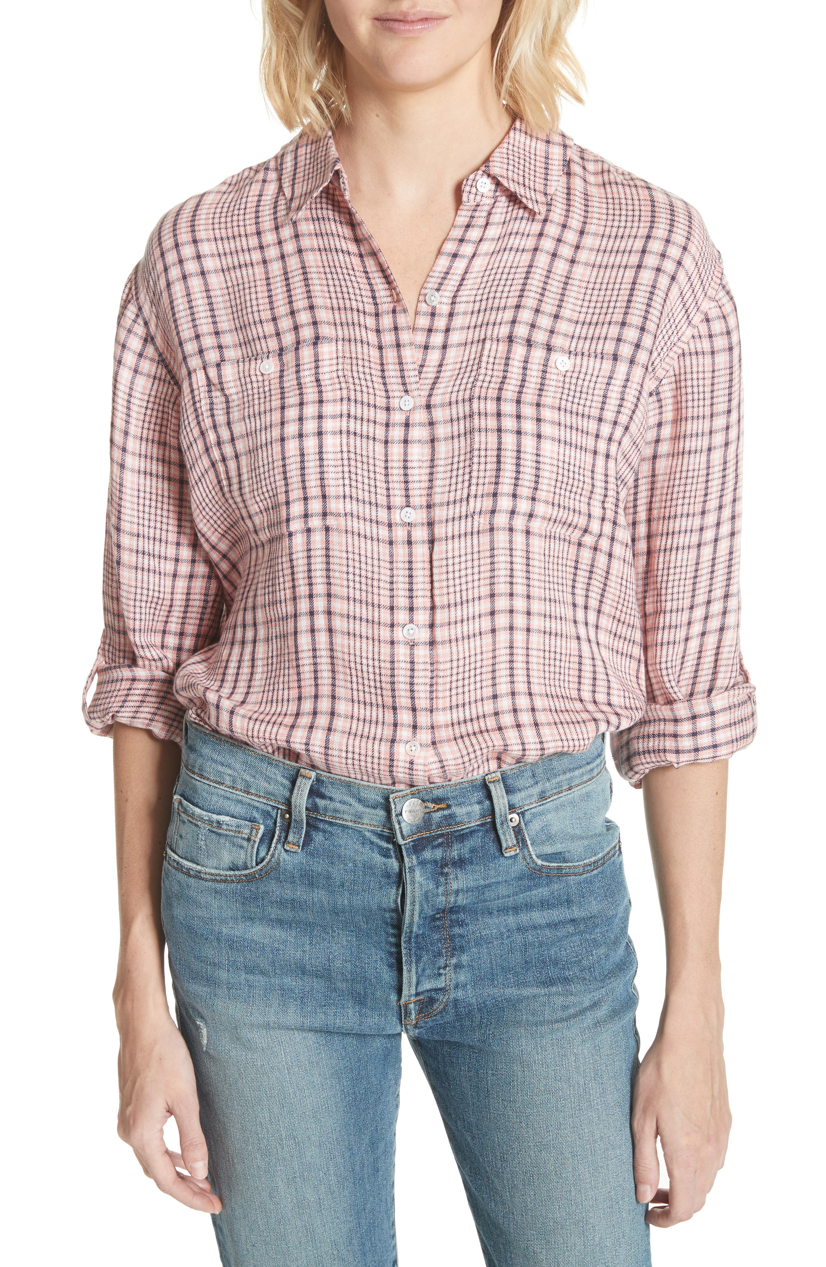 Lidelle Plaid Linen Shirt,                             Main thumbnail 1, color,                             658