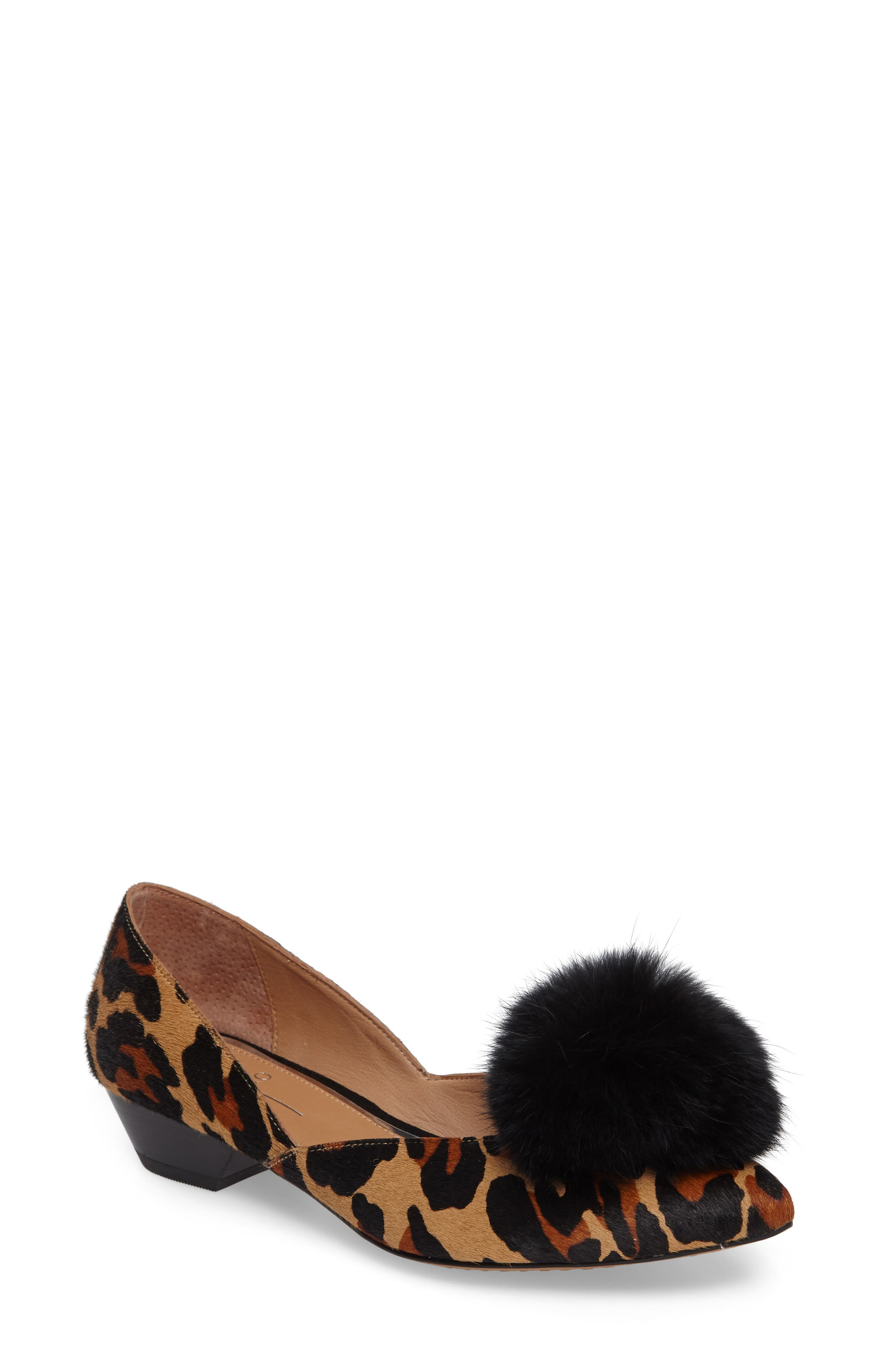 Camille II Genuine Calf Hair d'Orsay Pump with Genuine Rabbit Fur Pompom,                         Main,                         color, 215