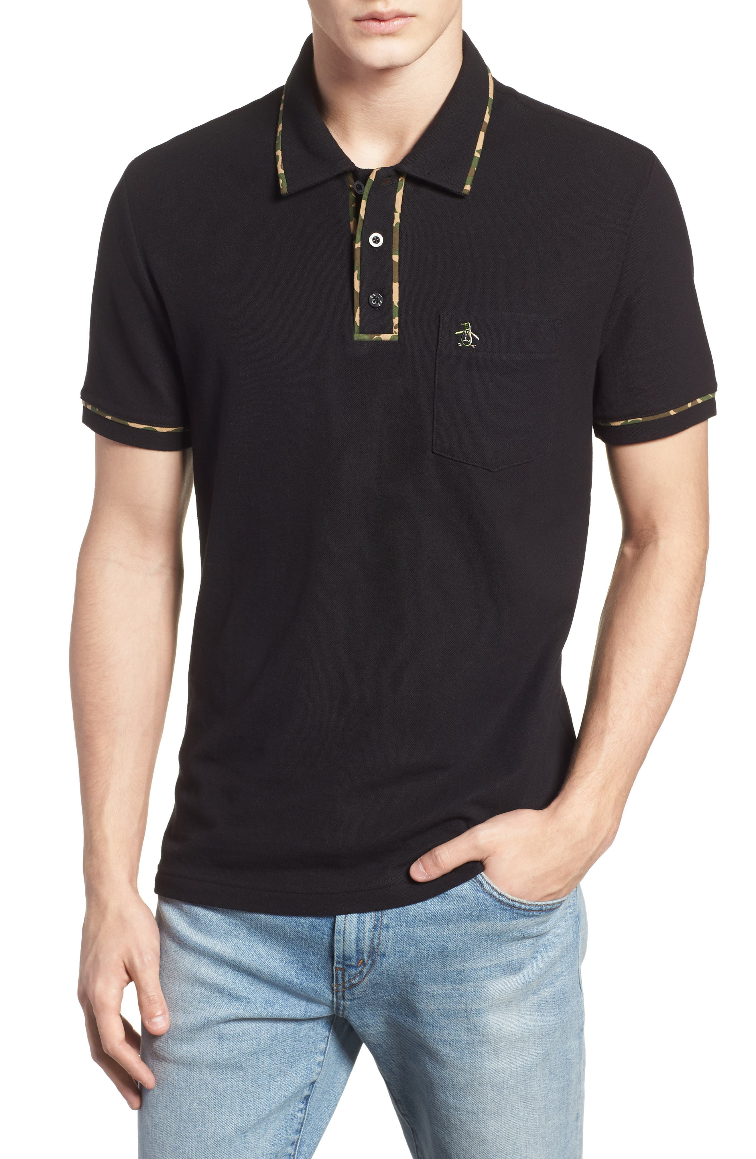 Earl Camo Trim Polo,                             Main thumbnail 1, color,                             010