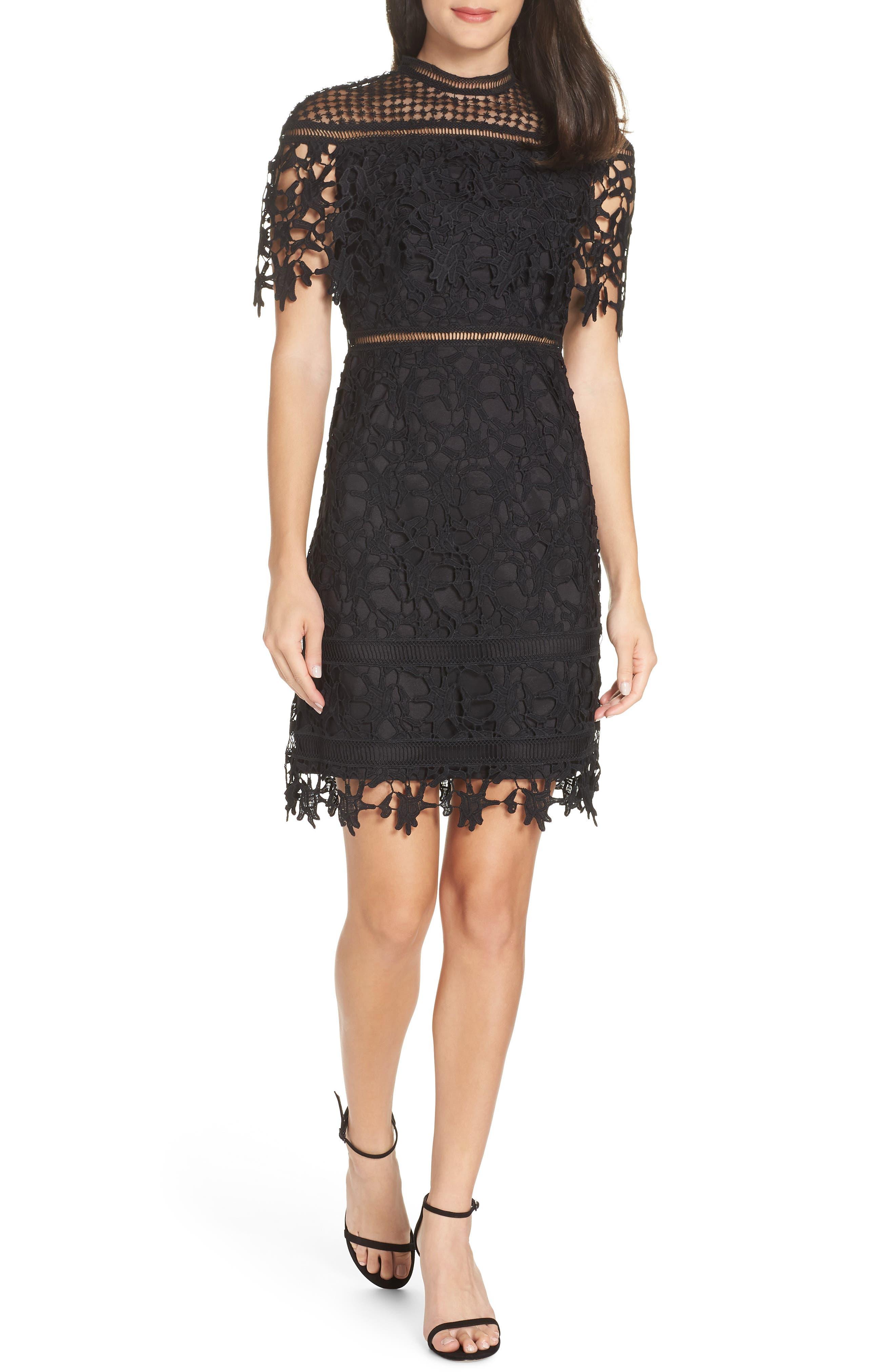Chi Chi London Adita Crochet Lace Cocktail Dress, Black