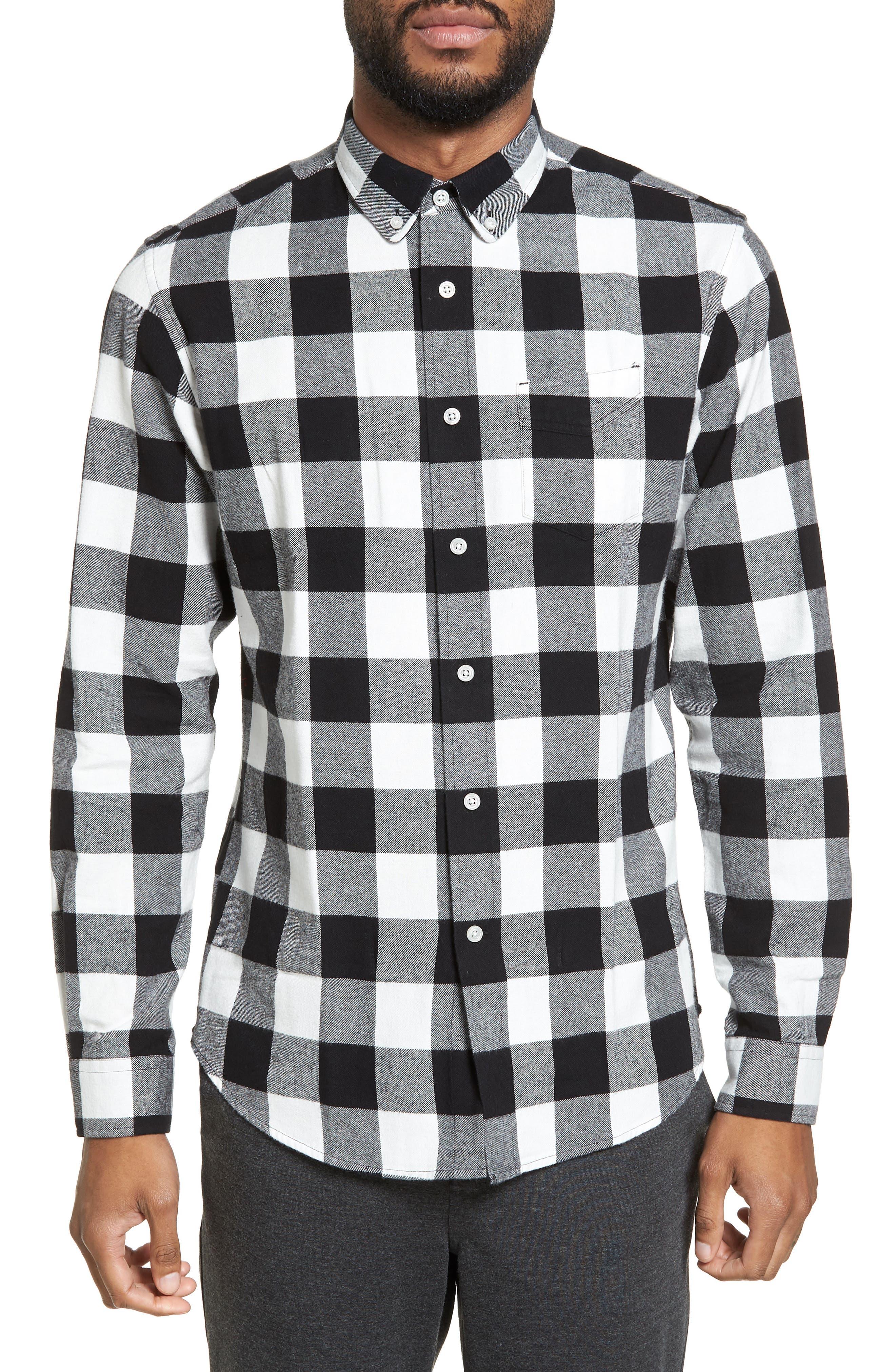 Trim Fit Buffalo Plaid Flannel Sport Shirt,                         Main,                         color, 001