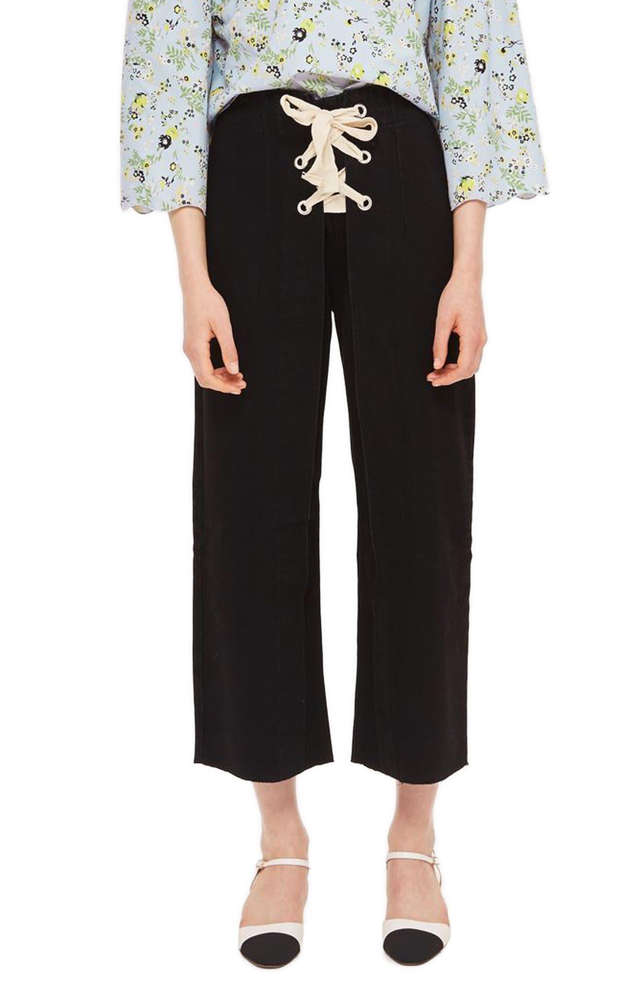 Lace-Up Wide Leg Crop Jeans,                             Main thumbnail 1, color,
