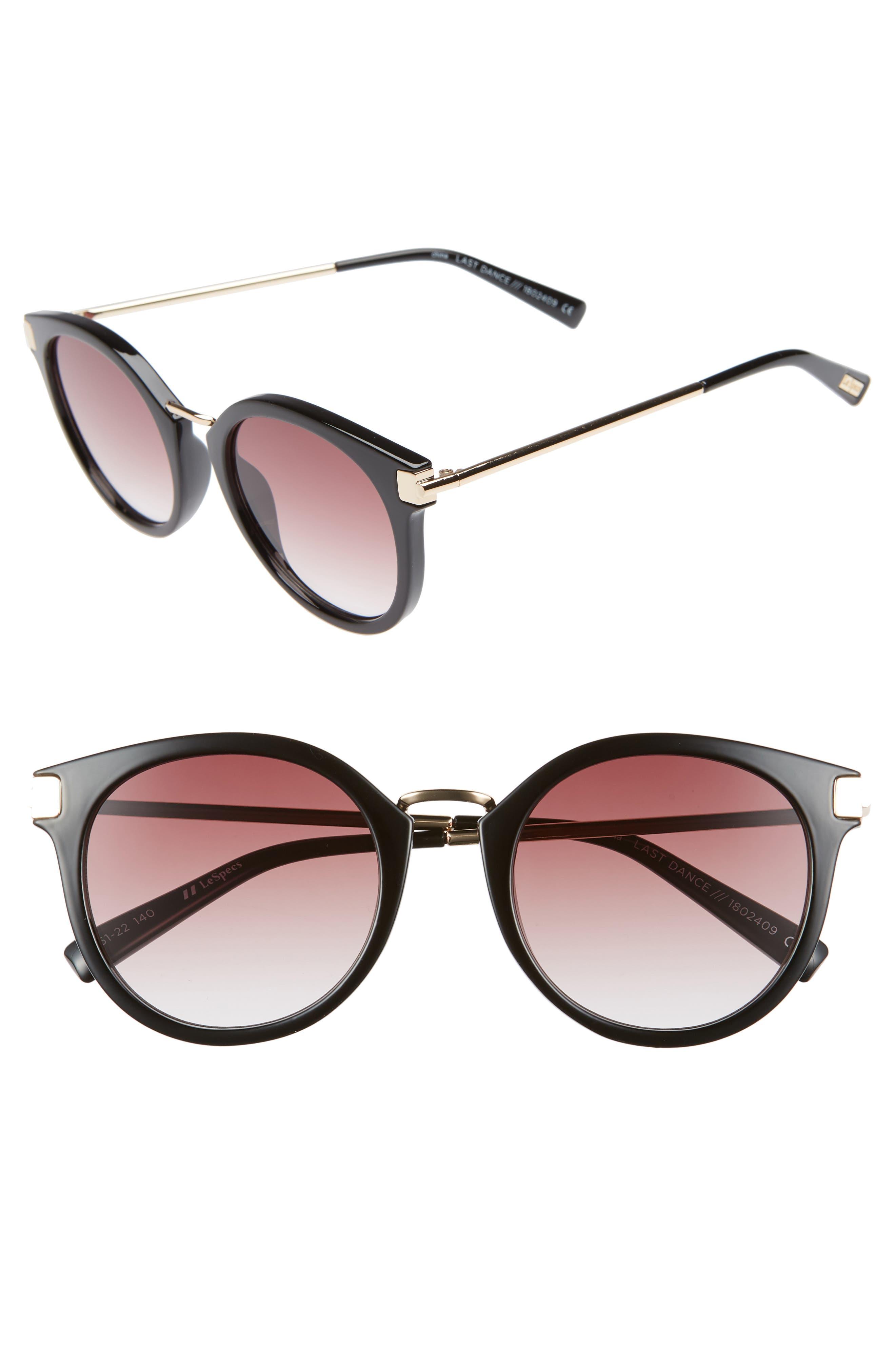 Last Dance 51mm Mirrored Round Sunglasses,                             Main thumbnail 1, color,                             BLACK