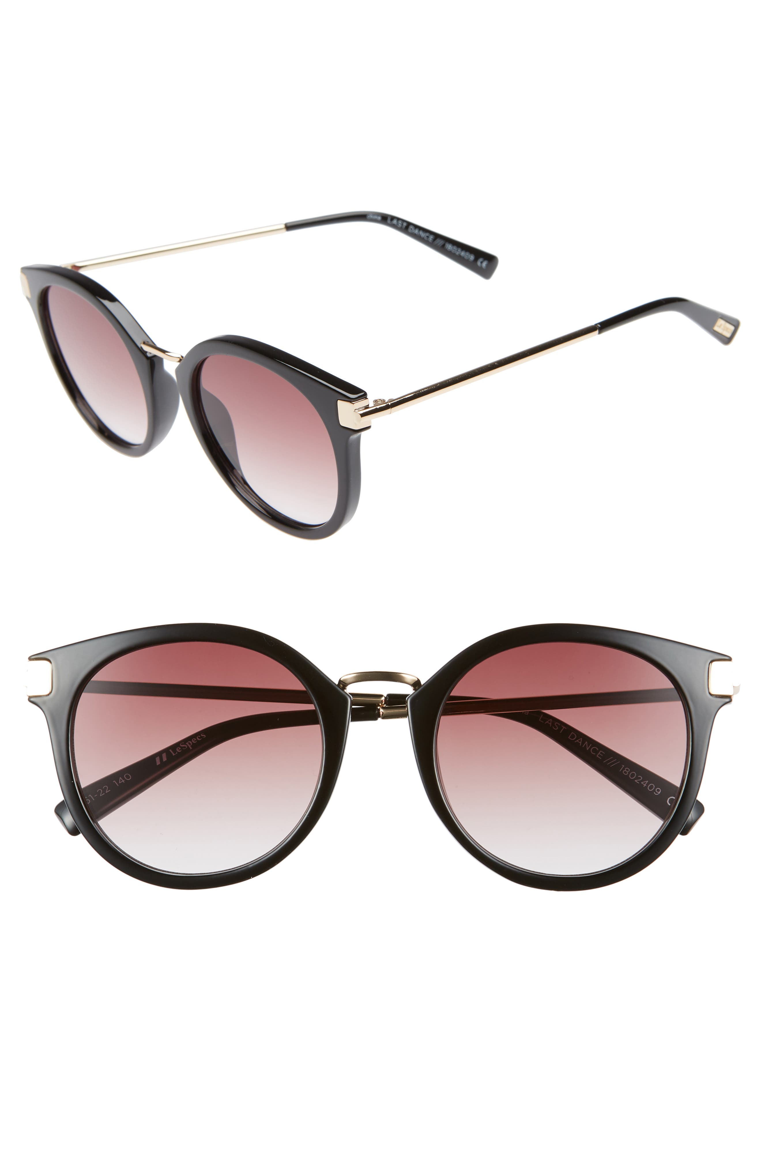 Last Dance 51mm Mirrored Round Sunglasses,                         Main,                         color, BLACK
