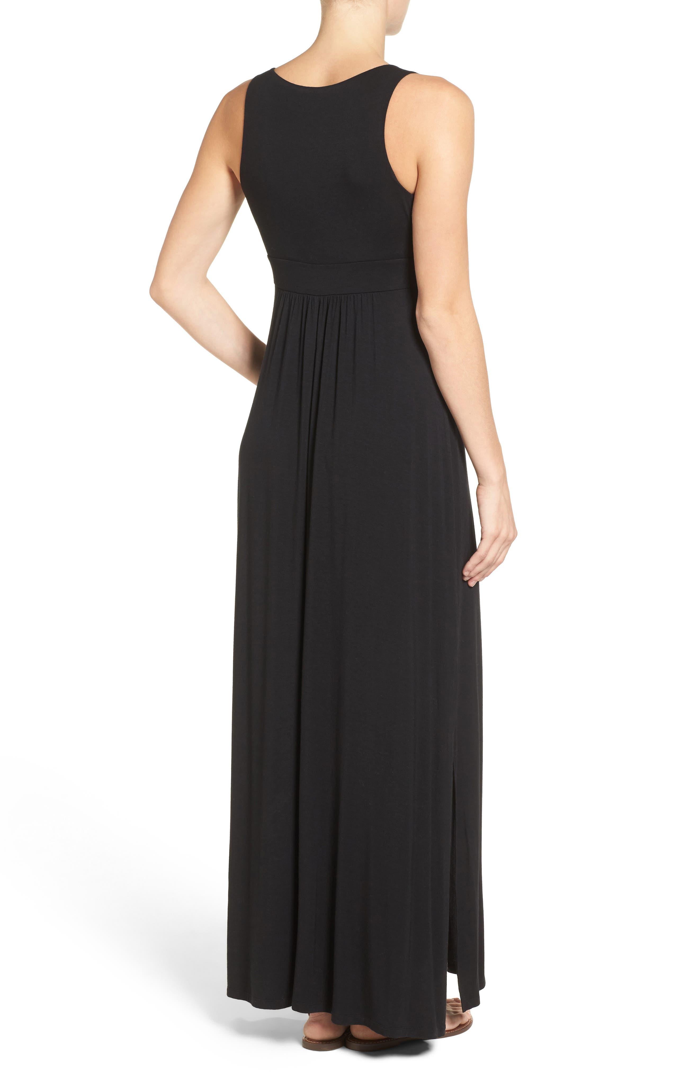 Knit Maxi Dress,                             Alternate thumbnail 3, color,                             001