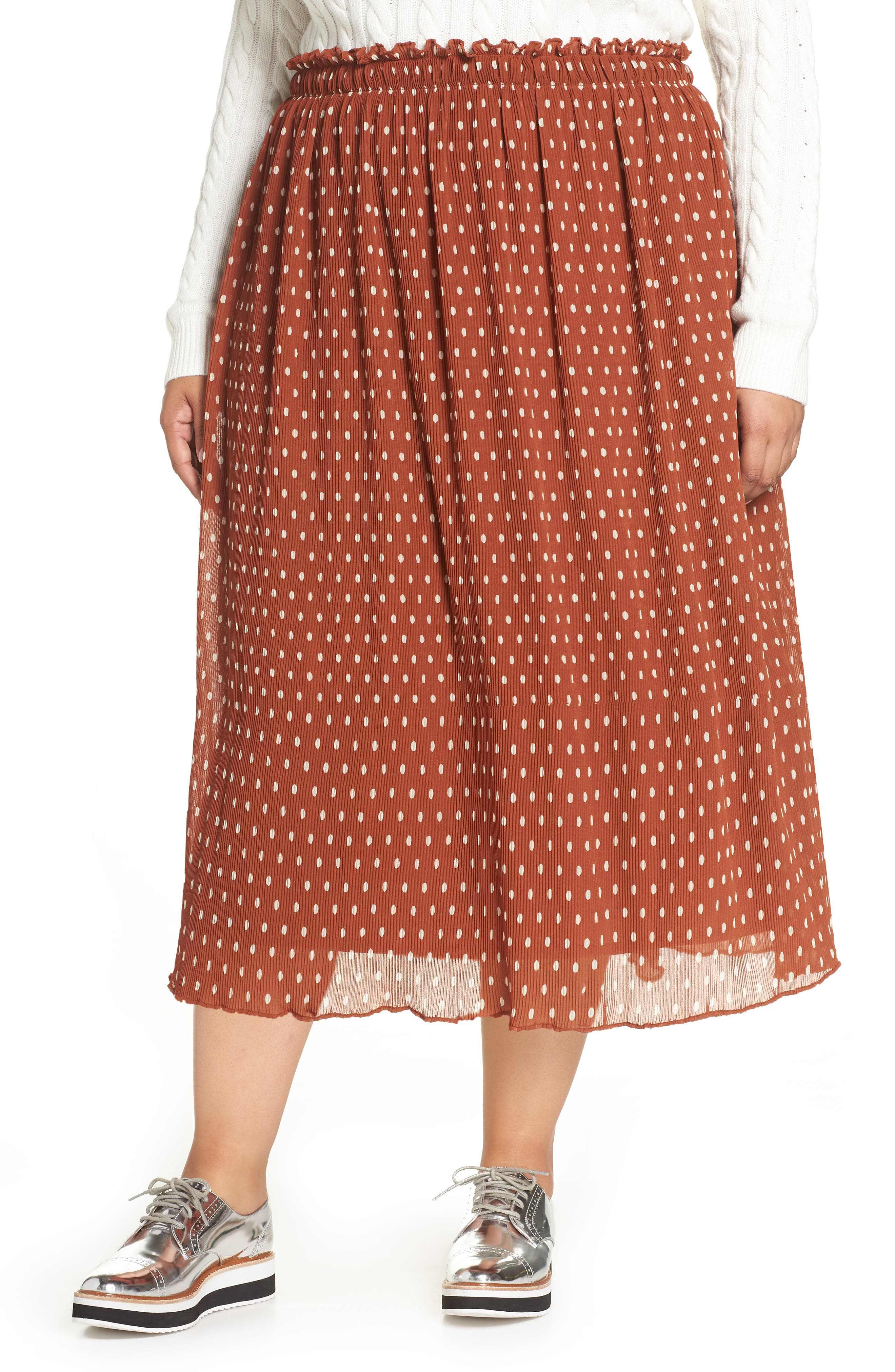 Plus Size Halogen X Atlantic-Pacific Crinkle Midi Skirt, Brown