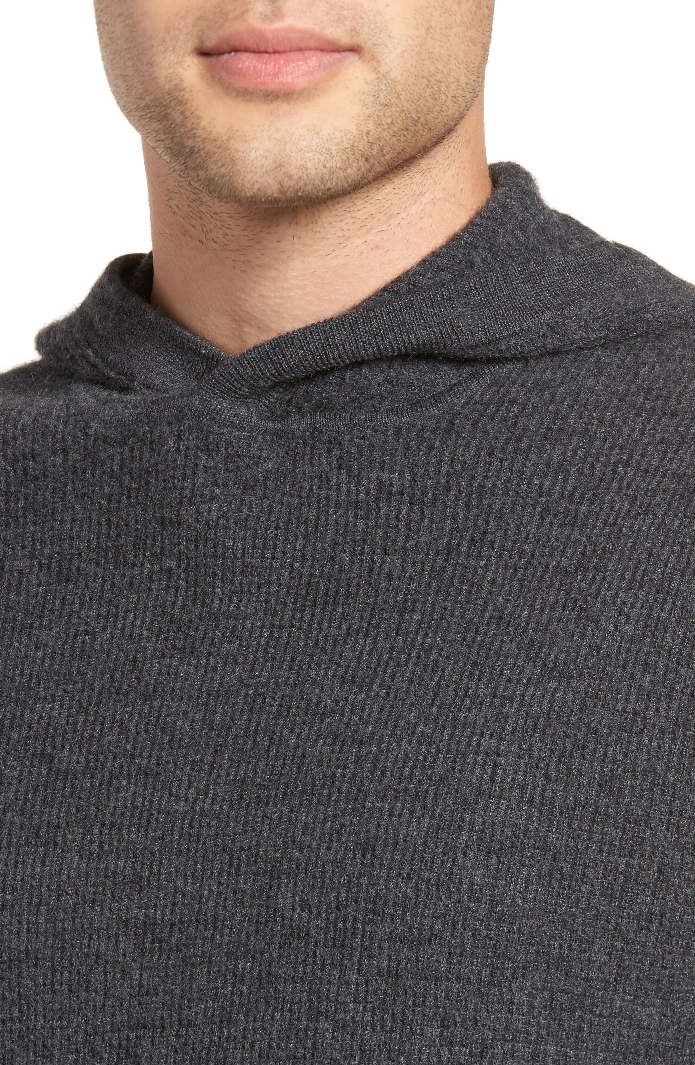 Thermal Knit Cashmere Hooded Sweater,                             Alternate thumbnail 4, color,                             020