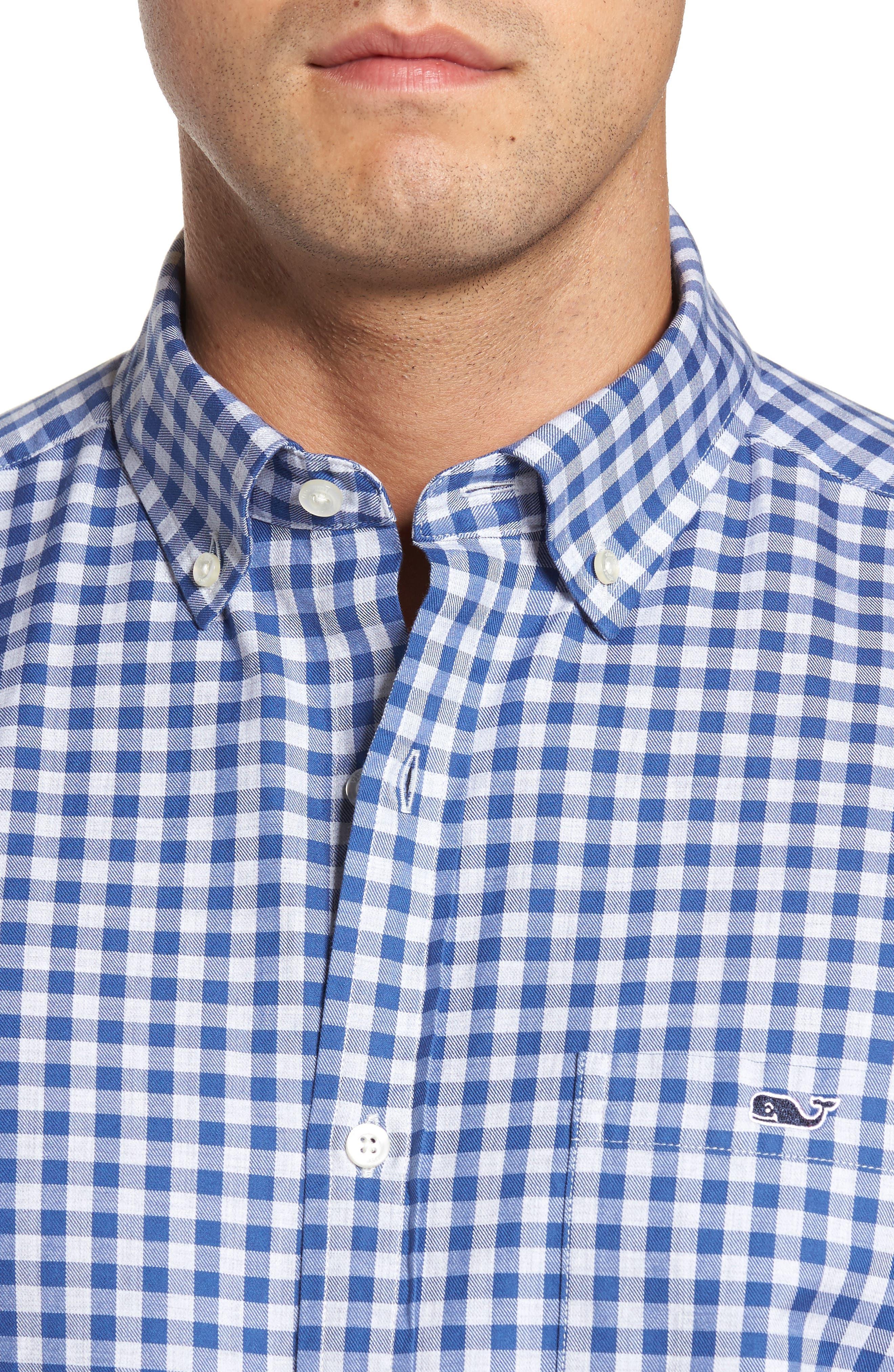 Classic Fit Tucker Cliff Gingham Sport Shirt,                             Alternate thumbnail 4, color,