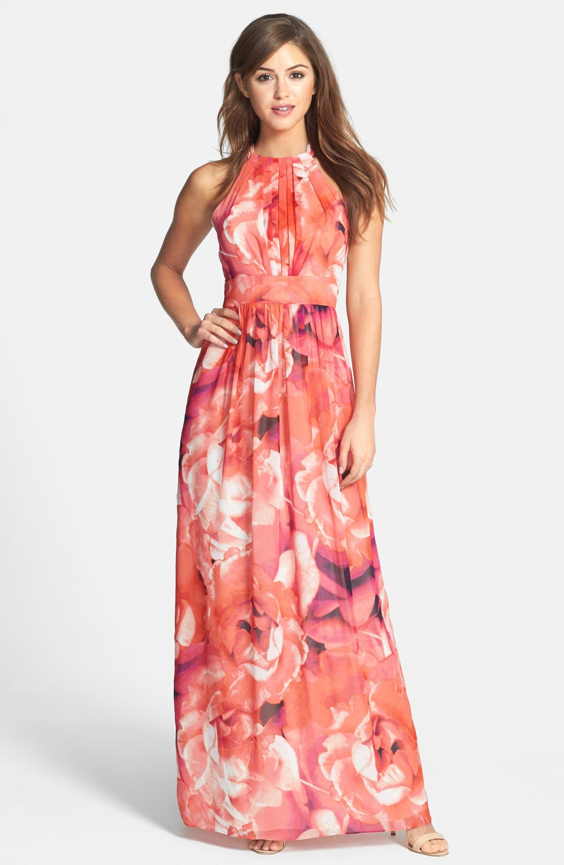 Print Chiffon Fit & Flare Maxi Dress,                         Main,                         color, 650