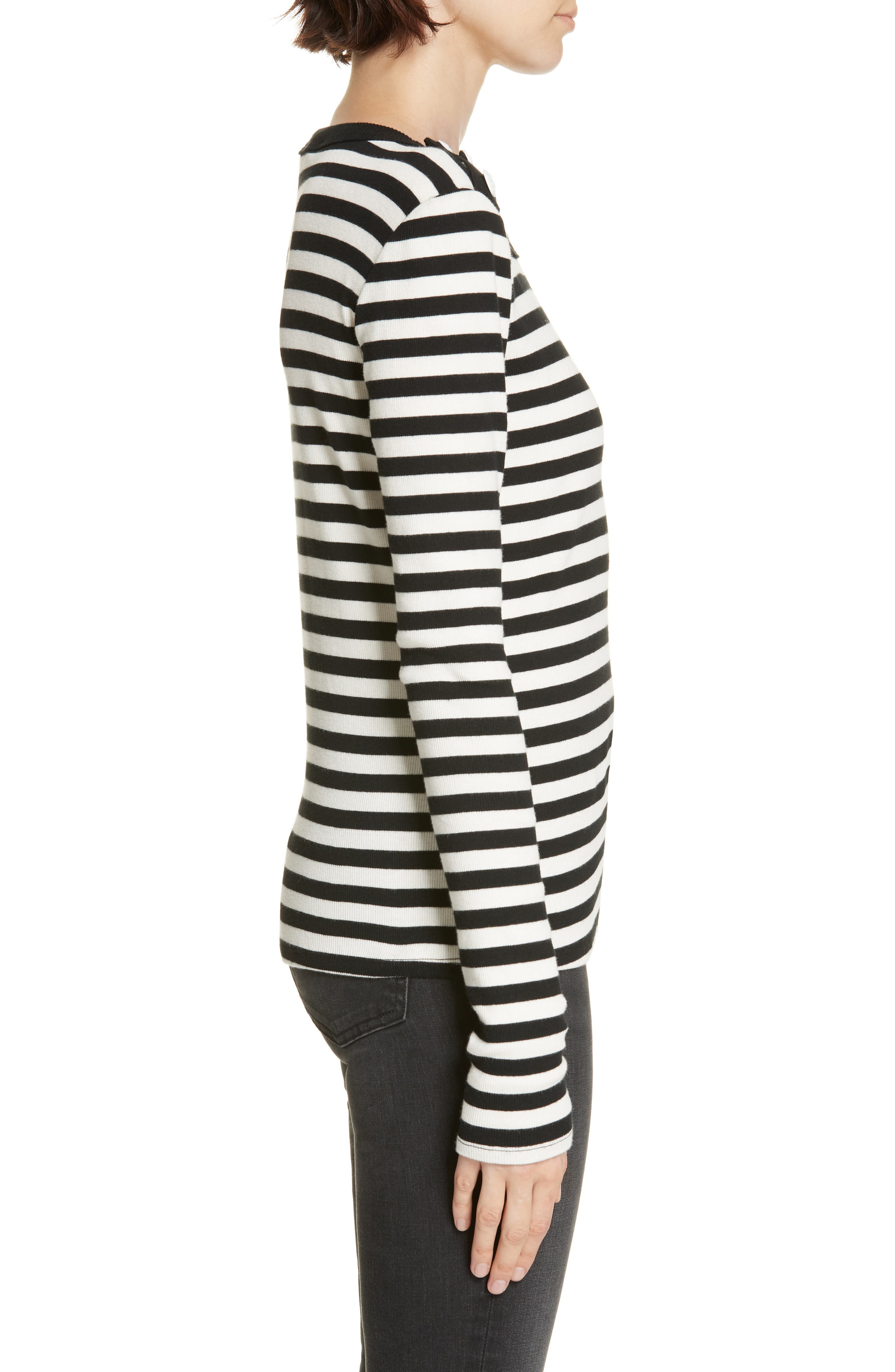 Mayer Button Shoulder Stripe Top,                             Alternate thumbnail 3, color,                             BLACK/ WHITE