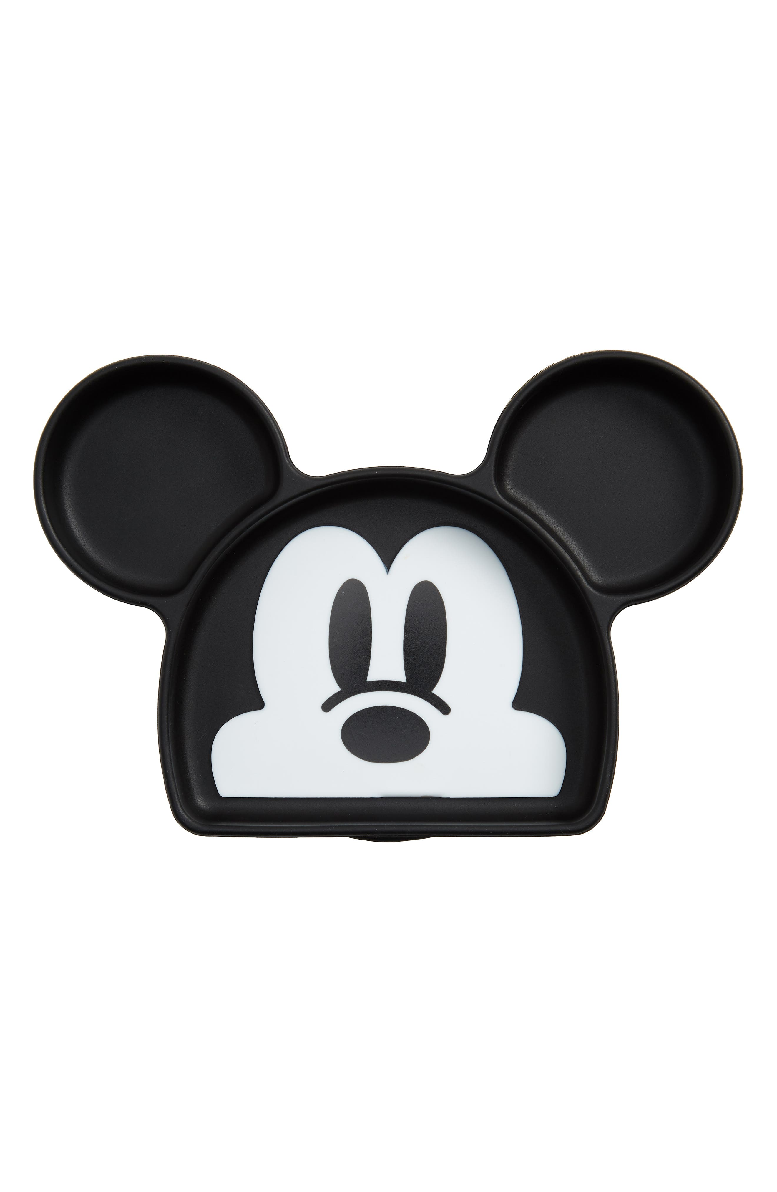 Mickey Mouse<sup>®</sup> Silicone Grip Dish,                             Main thumbnail 1, color,                             BLACK