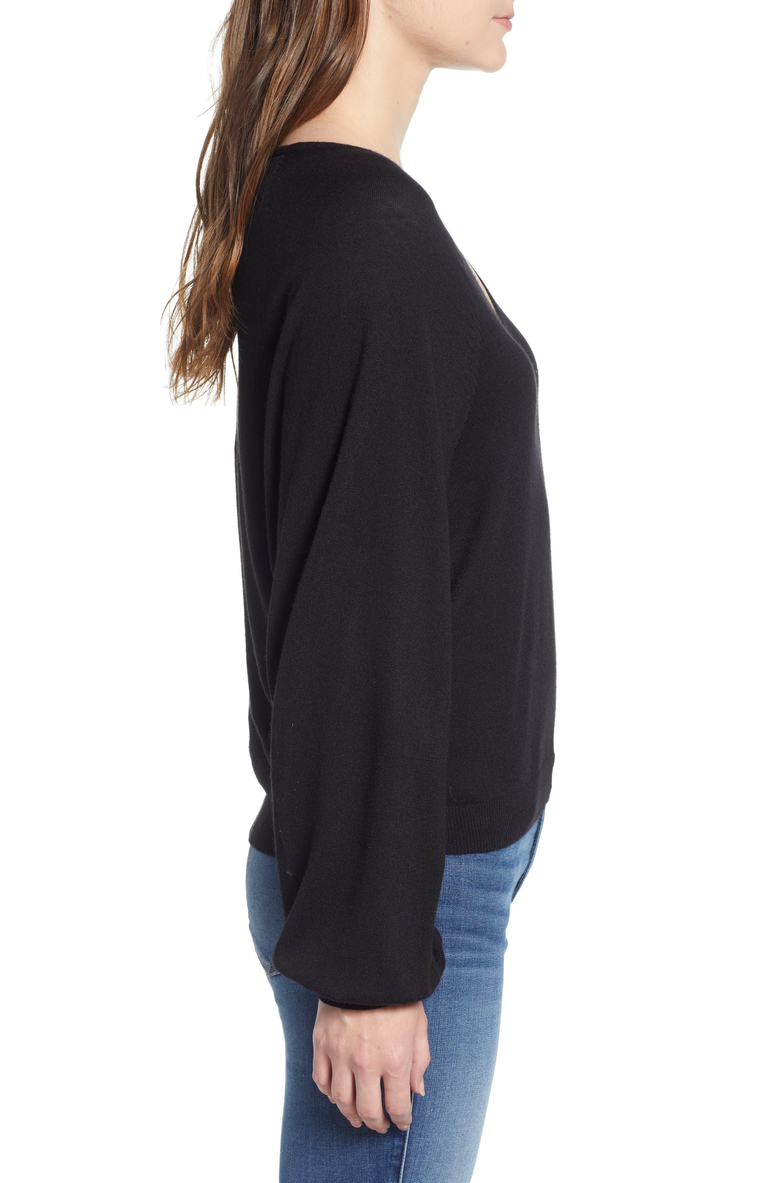 V-Neck Sweater,                             Alternate thumbnail 3, color,                             BLACK