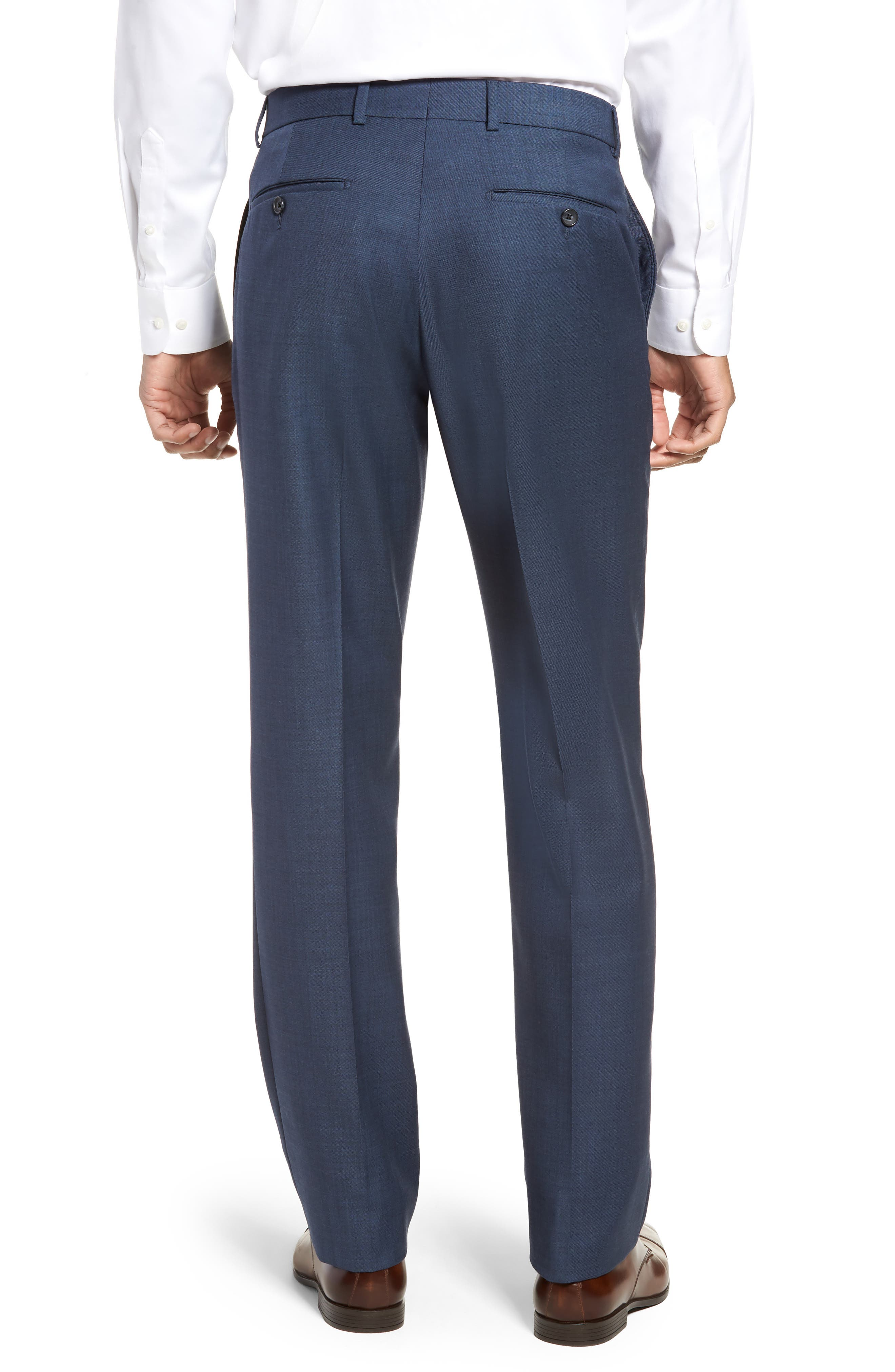 Flat Front Sharkskin Wool Trousers,                             Alternate thumbnail 2, color,                             NEW NAVY