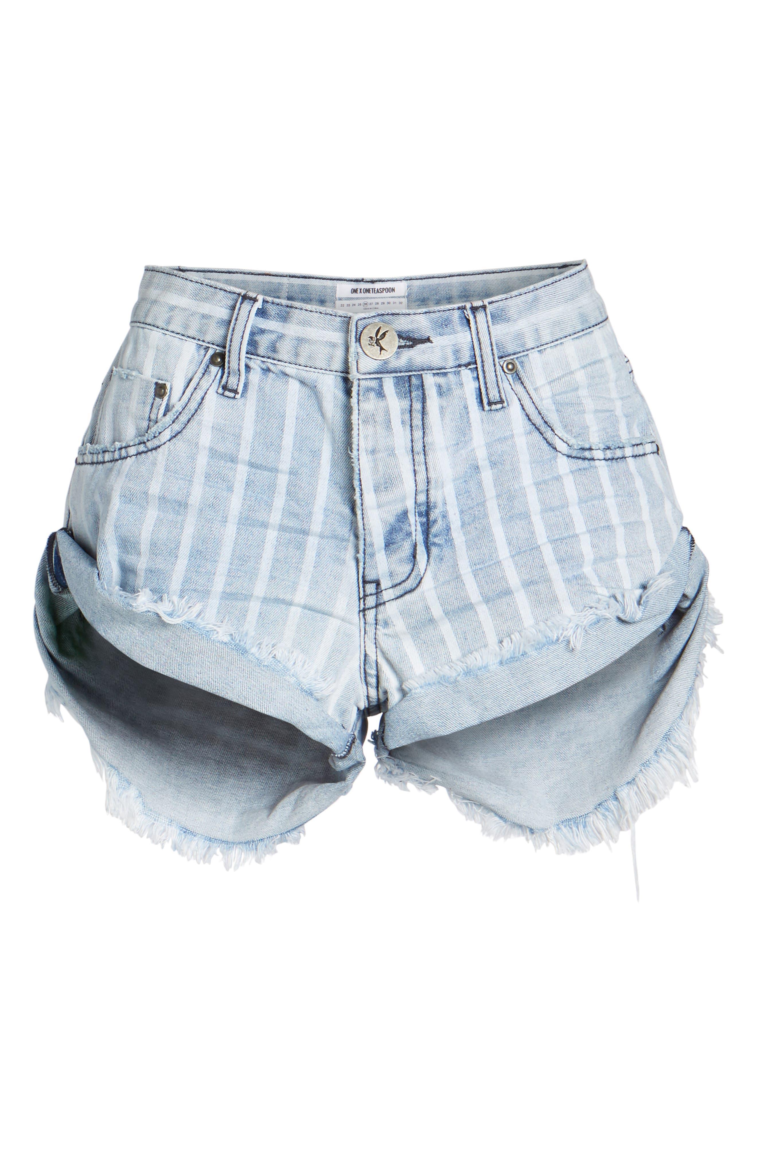Bandit Stripe Denim Shorts,                             Alternate thumbnail 7, color,                             400