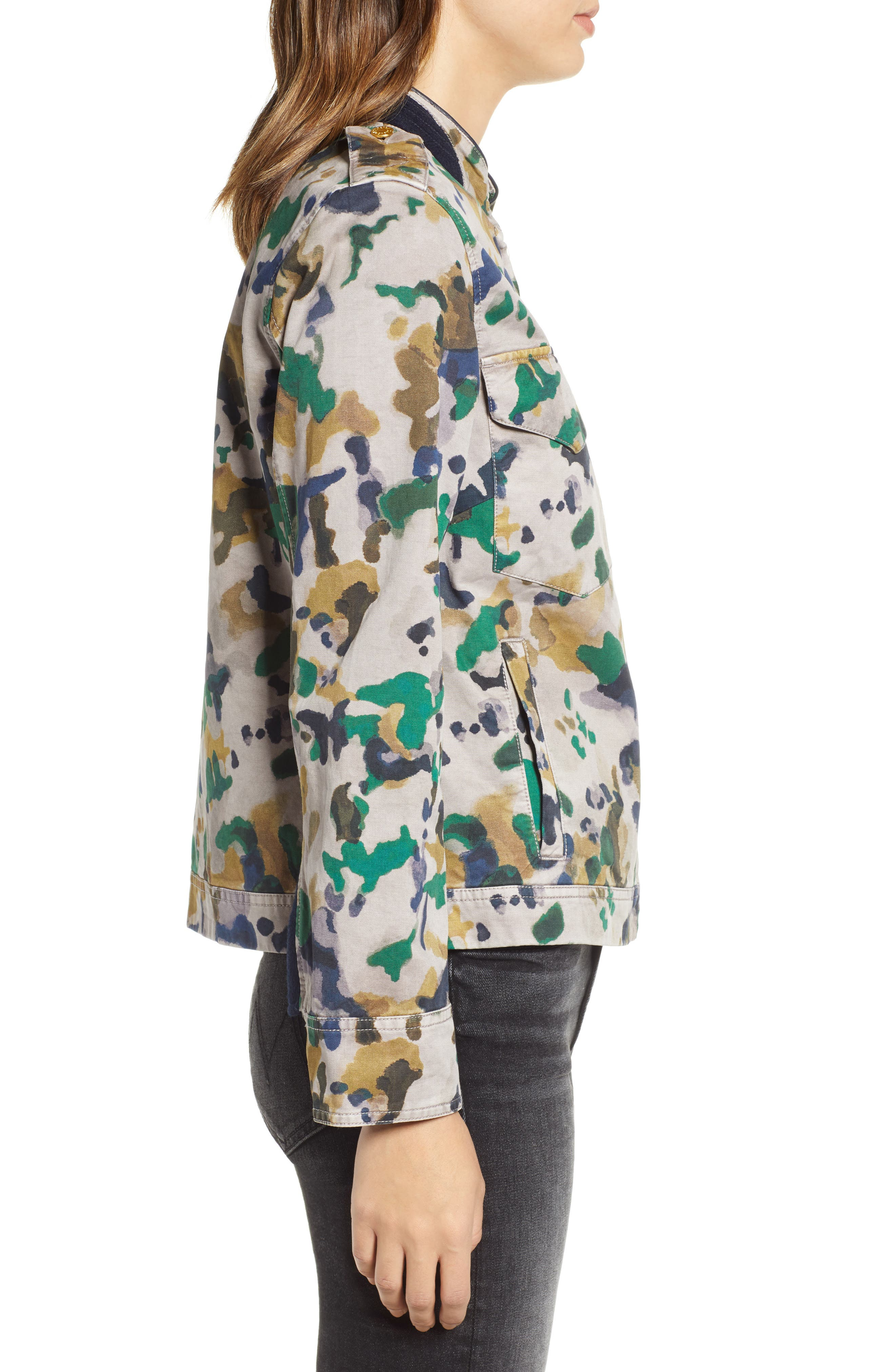 Kavy Watercolor Camouflage Cotton Jacket,                             Alternate thumbnail 3, color,                             MULTI