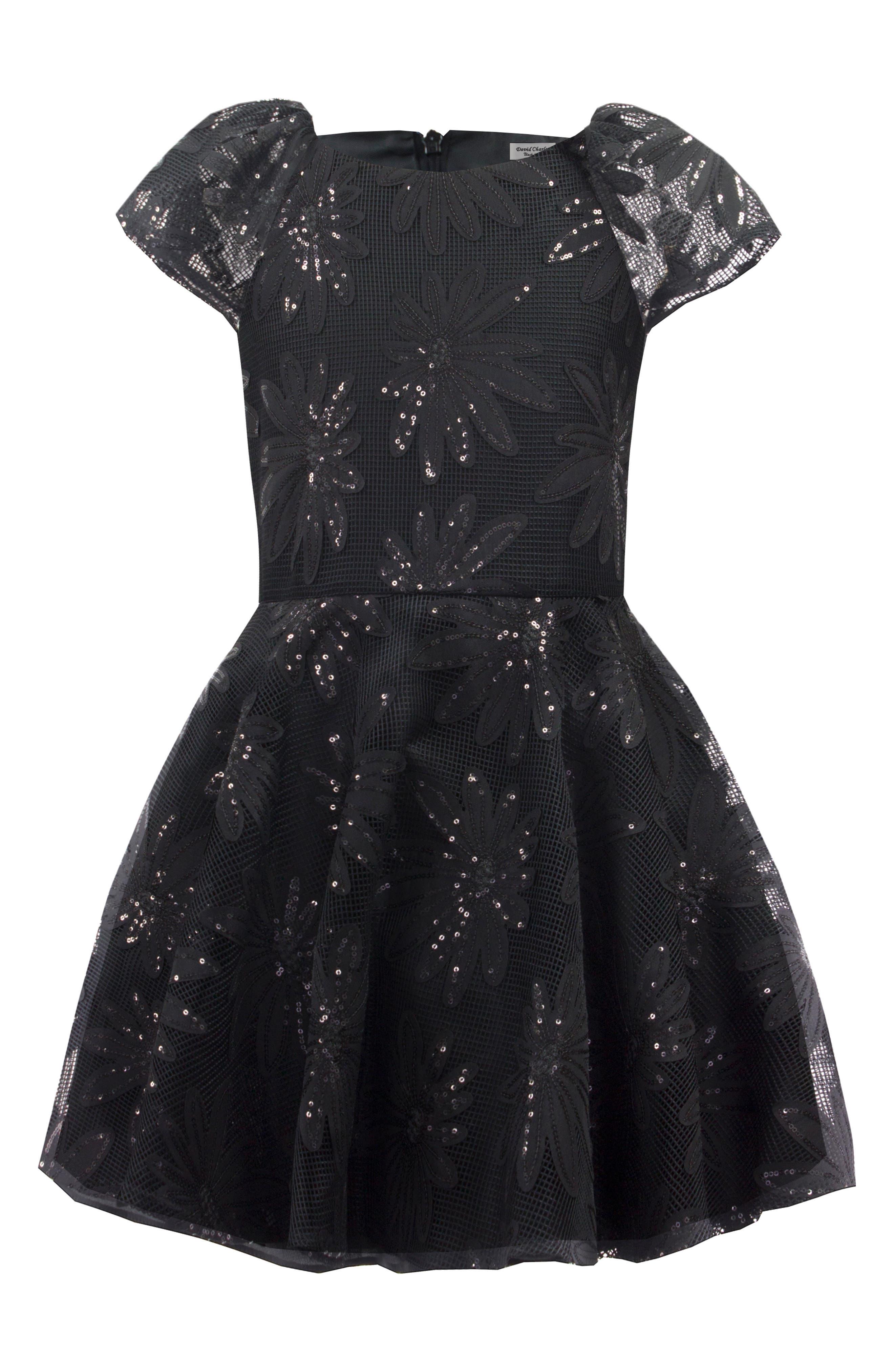 Sequin Flower Dress,                         Main,                         color, 001