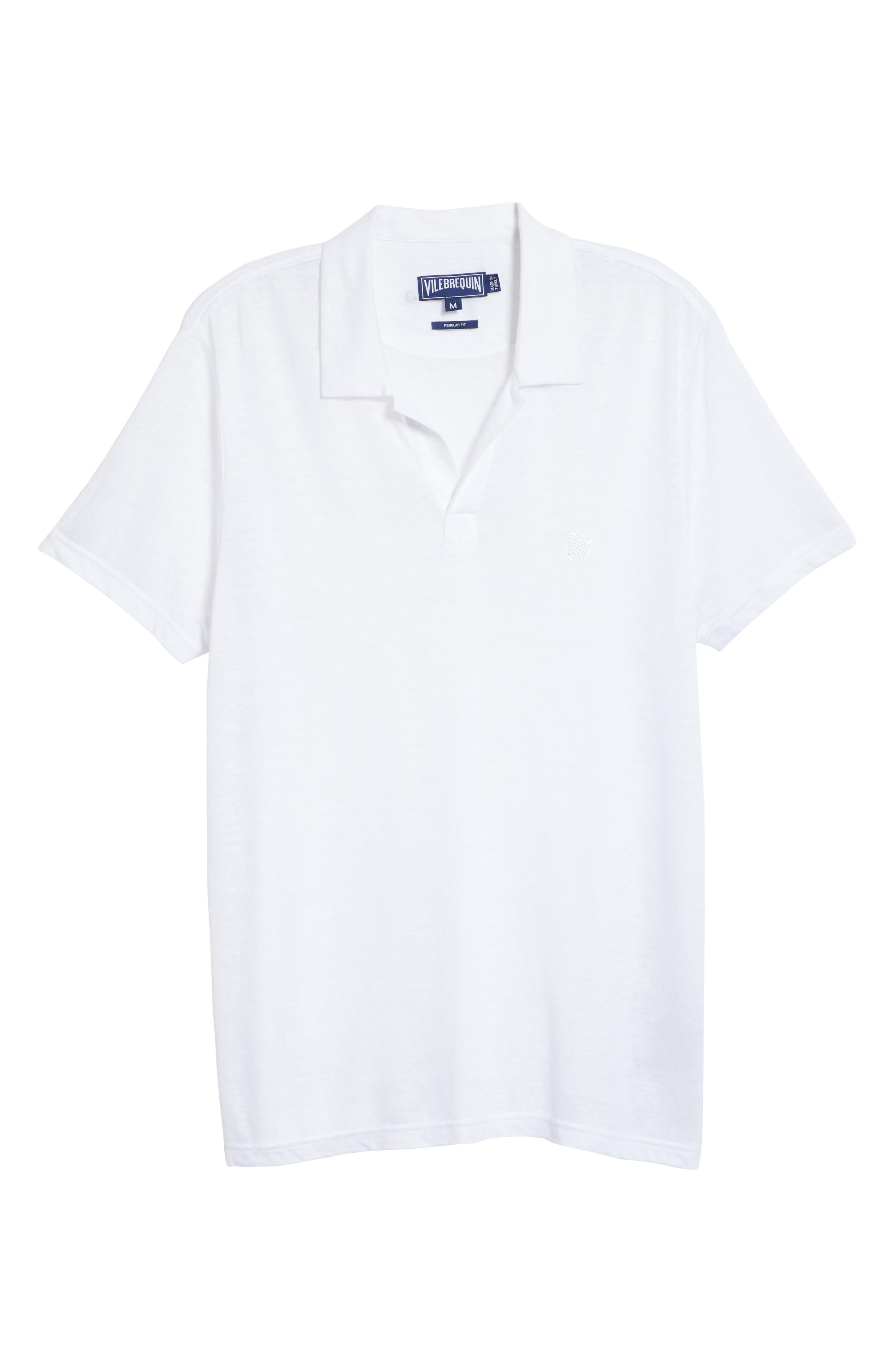 Jersey Linen Johnny Collar Polo,                             Alternate thumbnail 6, color,                             WHITE
