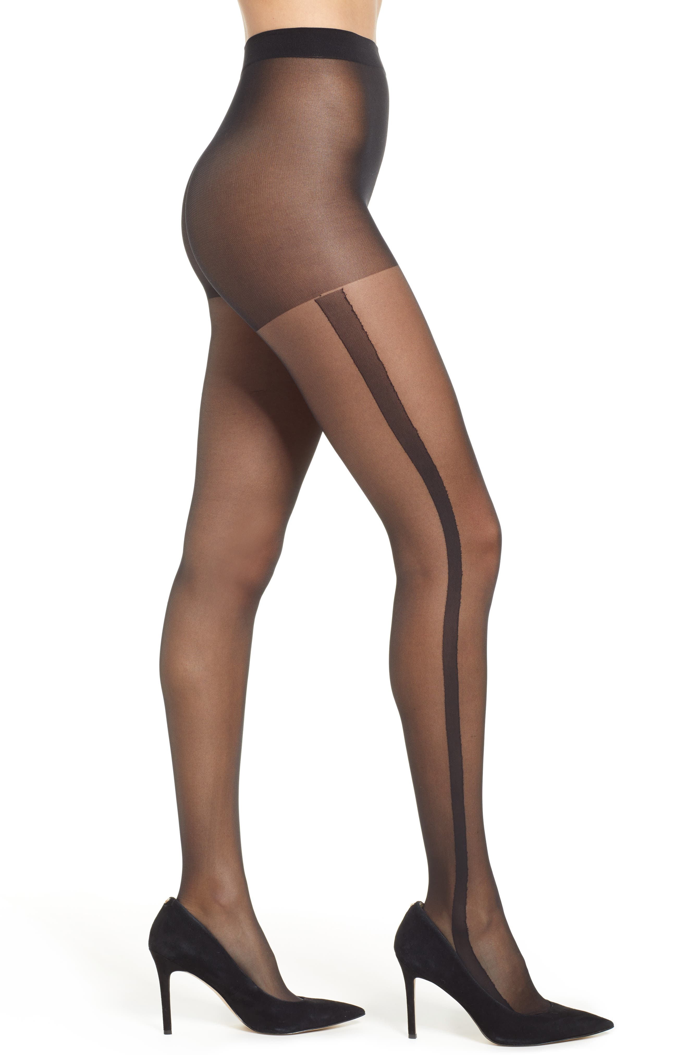 PRETTY POLLY Stripe Sheer Tights in Black