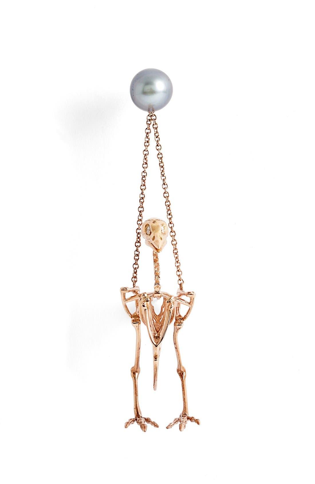 South Sea Pearl & Diamond Small Quail Earring,                             Alternate thumbnail 2, color,                             950