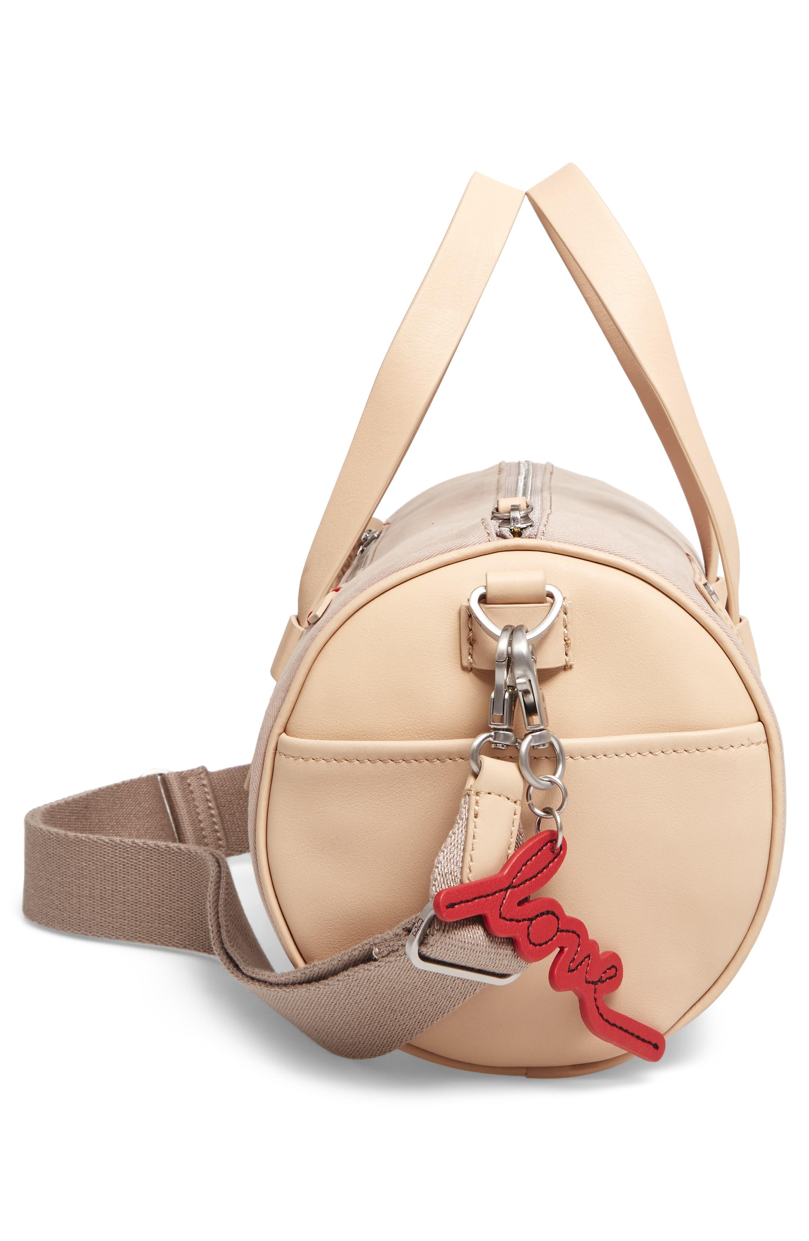 Mini Carml Leather & Canvas Barrel Bag,                             Alternate thumbnail 5, color,                             050