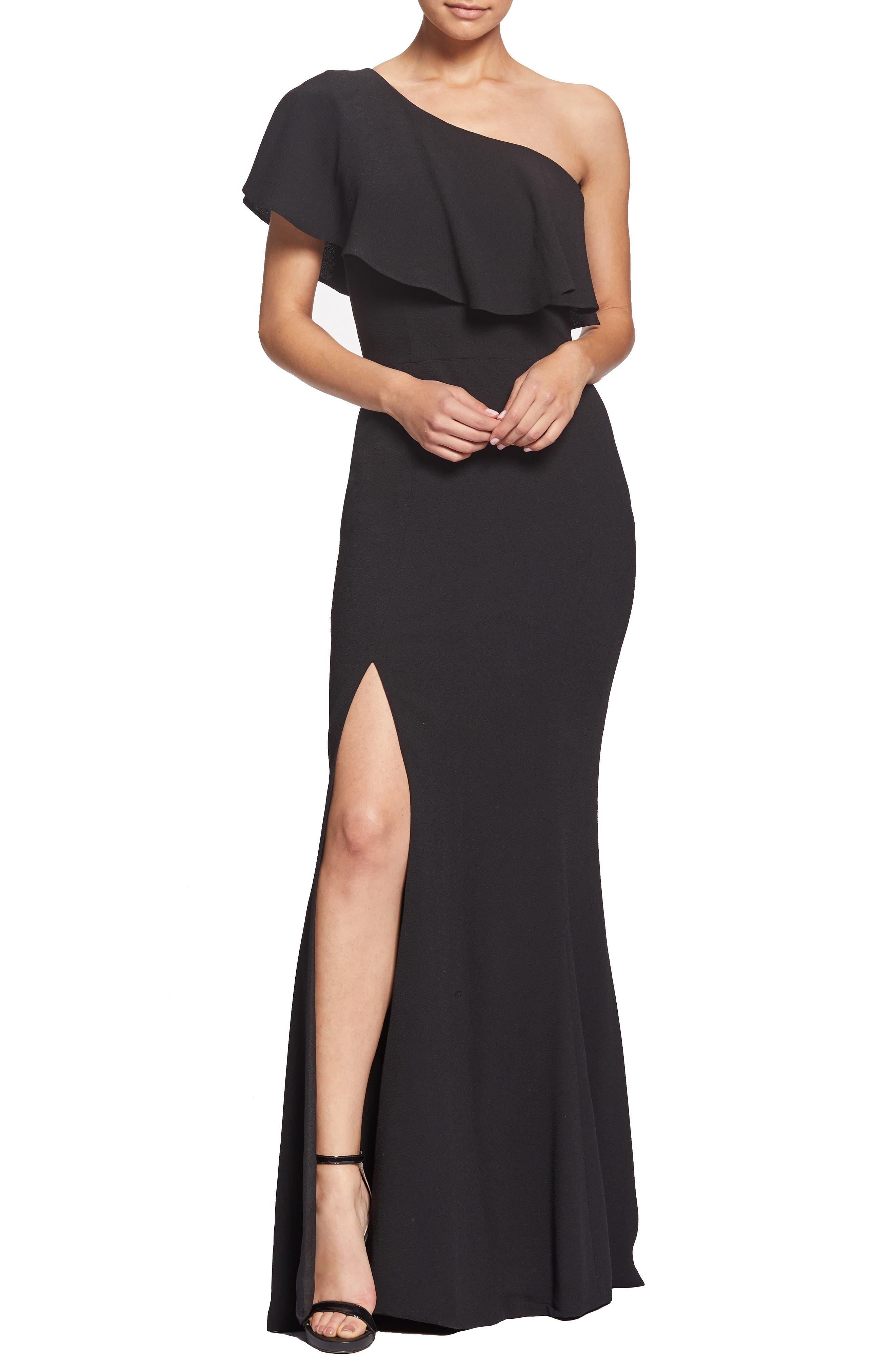Dress The Population Frida One-Shoulder Crepe Gown