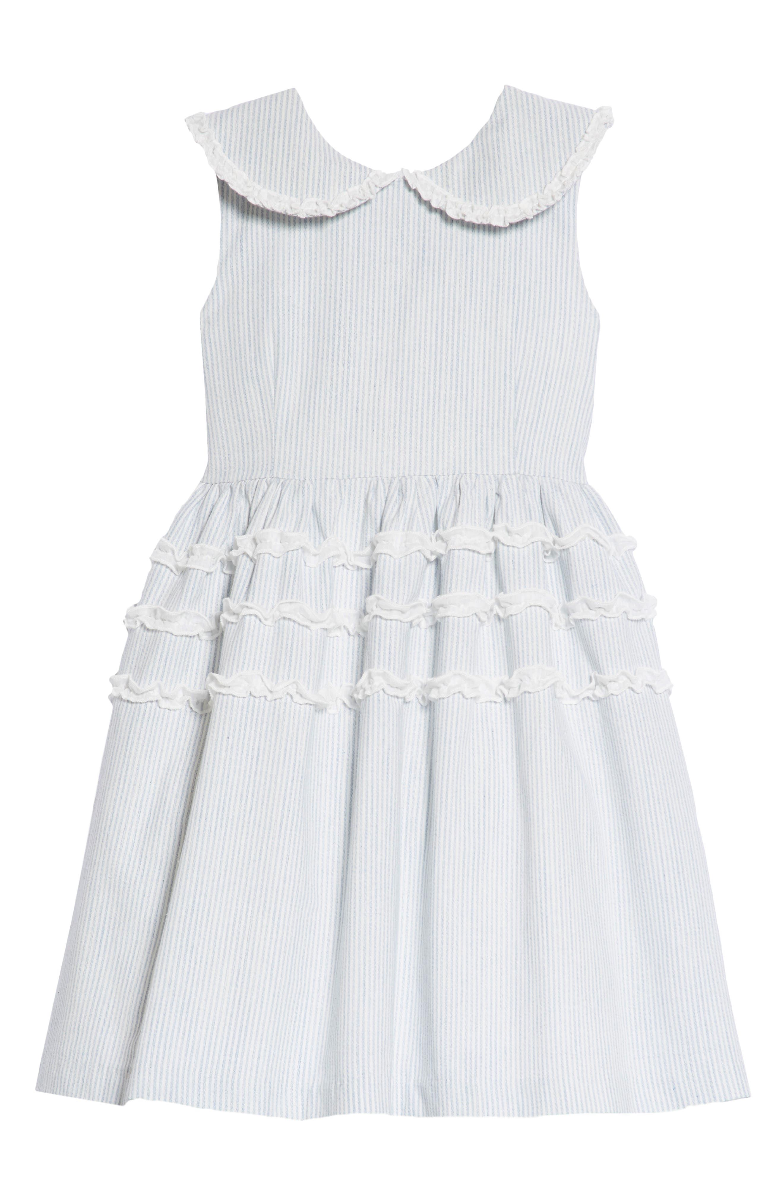 Stripe Ruffle Dress,                             Main thumbnail 1, color,                             402