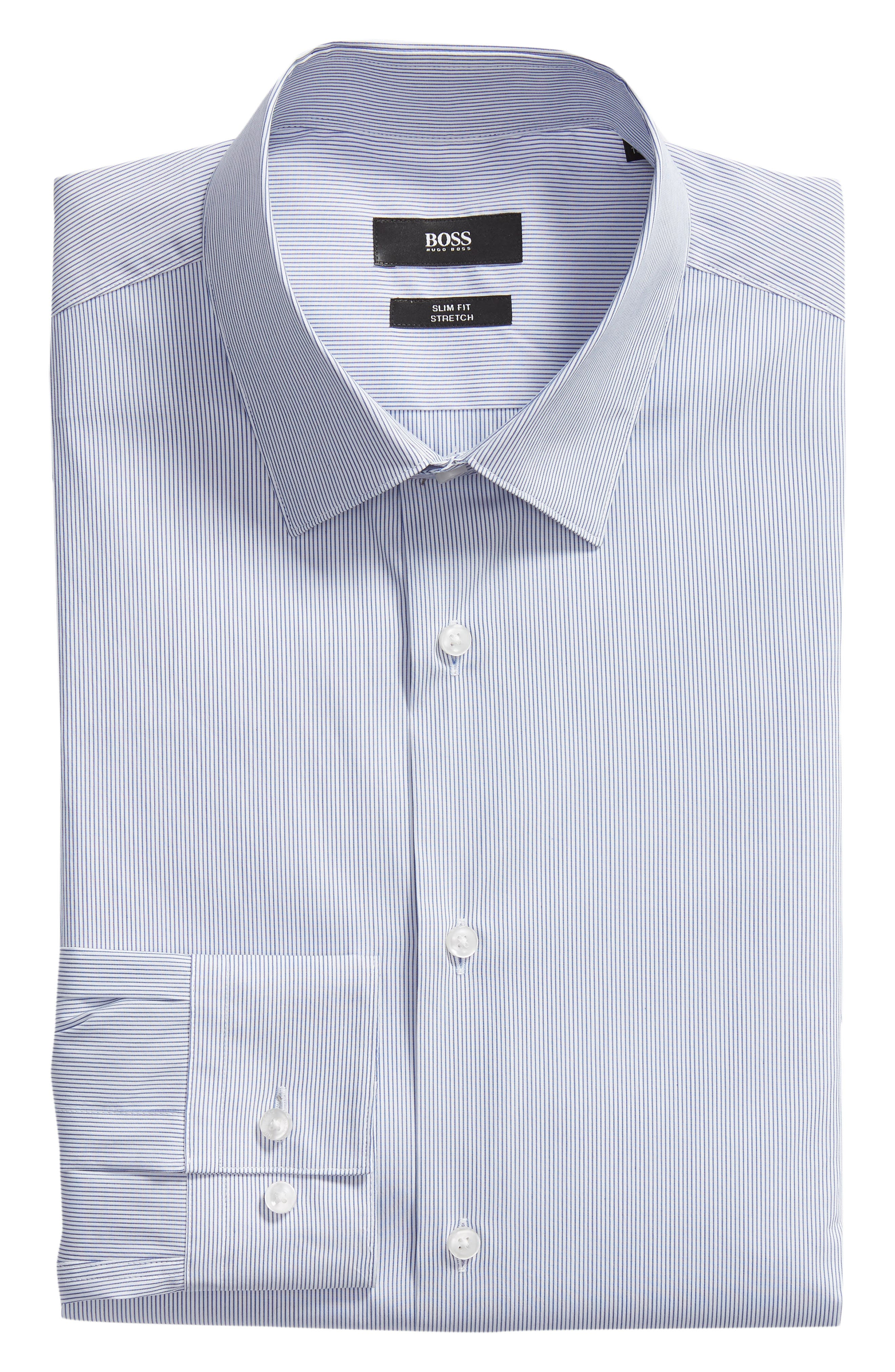 Isko Slim Fit Stretch Stripe Dress Shirt,                             Alternate thumbnail 5, color,                             BLUE