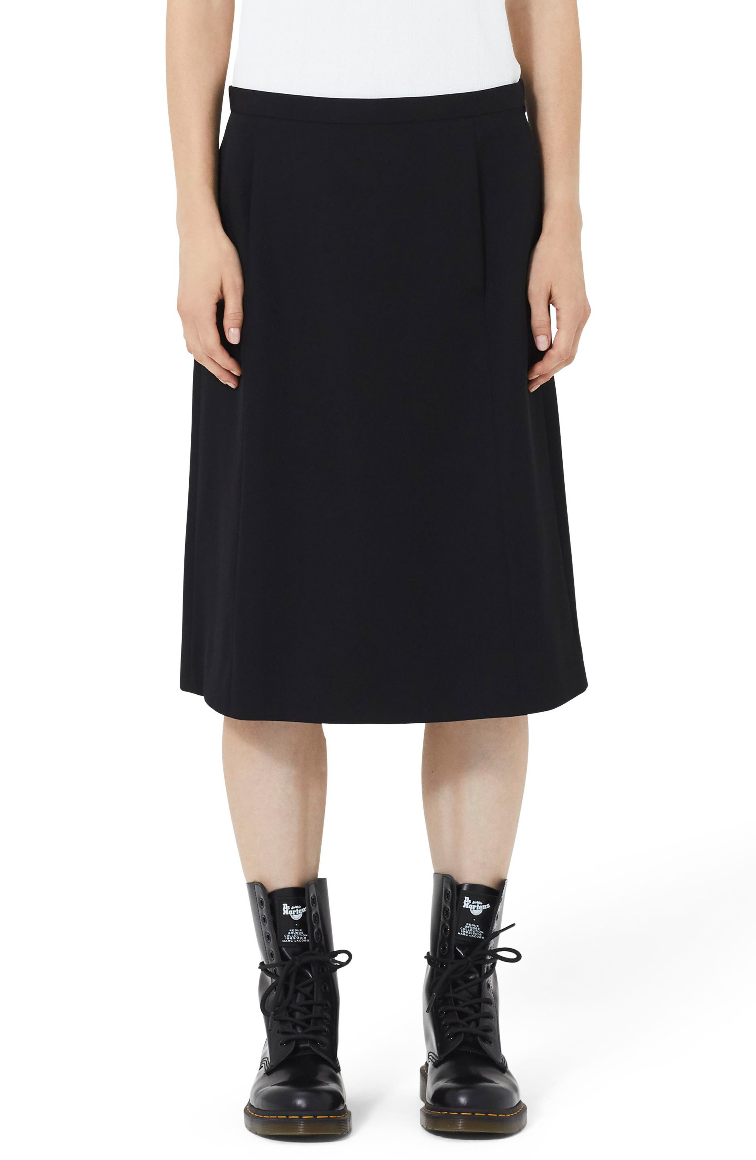 MARC JACOBS Wool A-Line Skirt, Main, color, BLACK