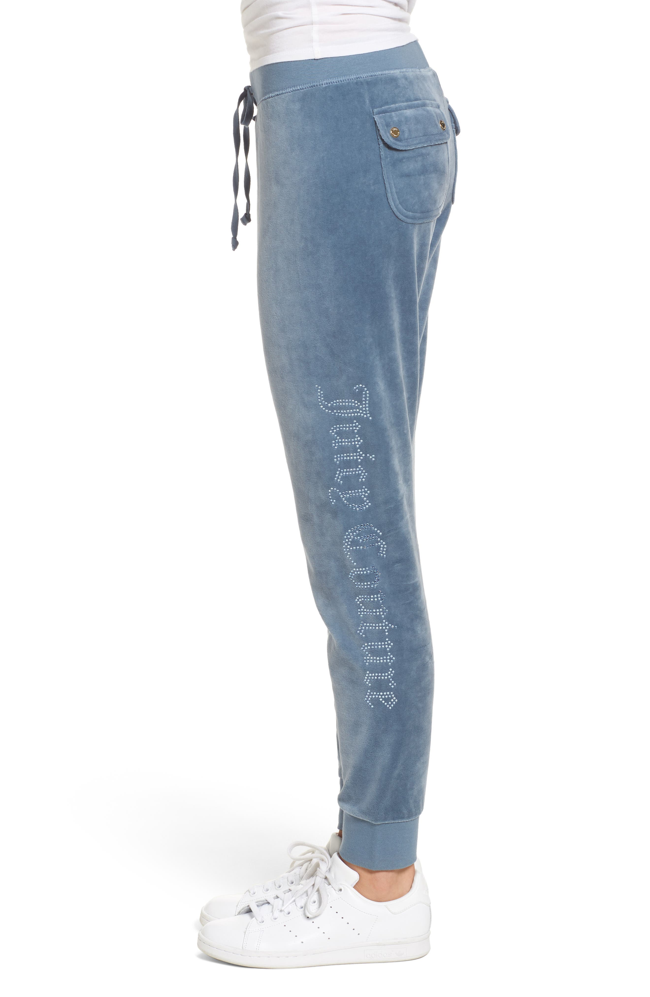 Zuma Crystal Velour Pants,                             Alternate thumbnail 3, color,                             413
