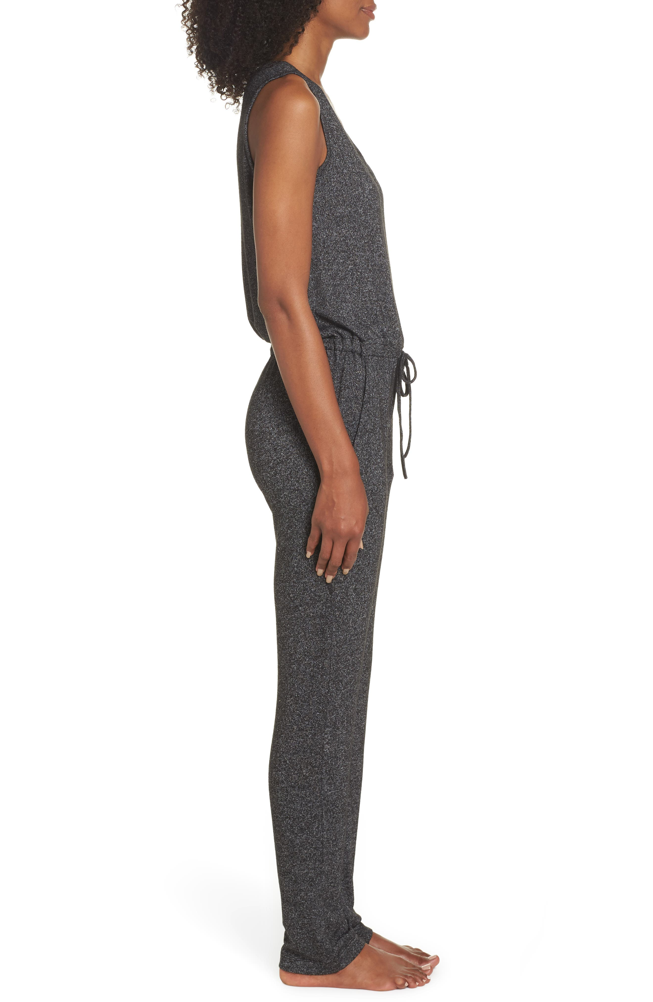 Charlize Lounge Jumpsuit,                             Alternate thumbnail 3, color,                             BLACK