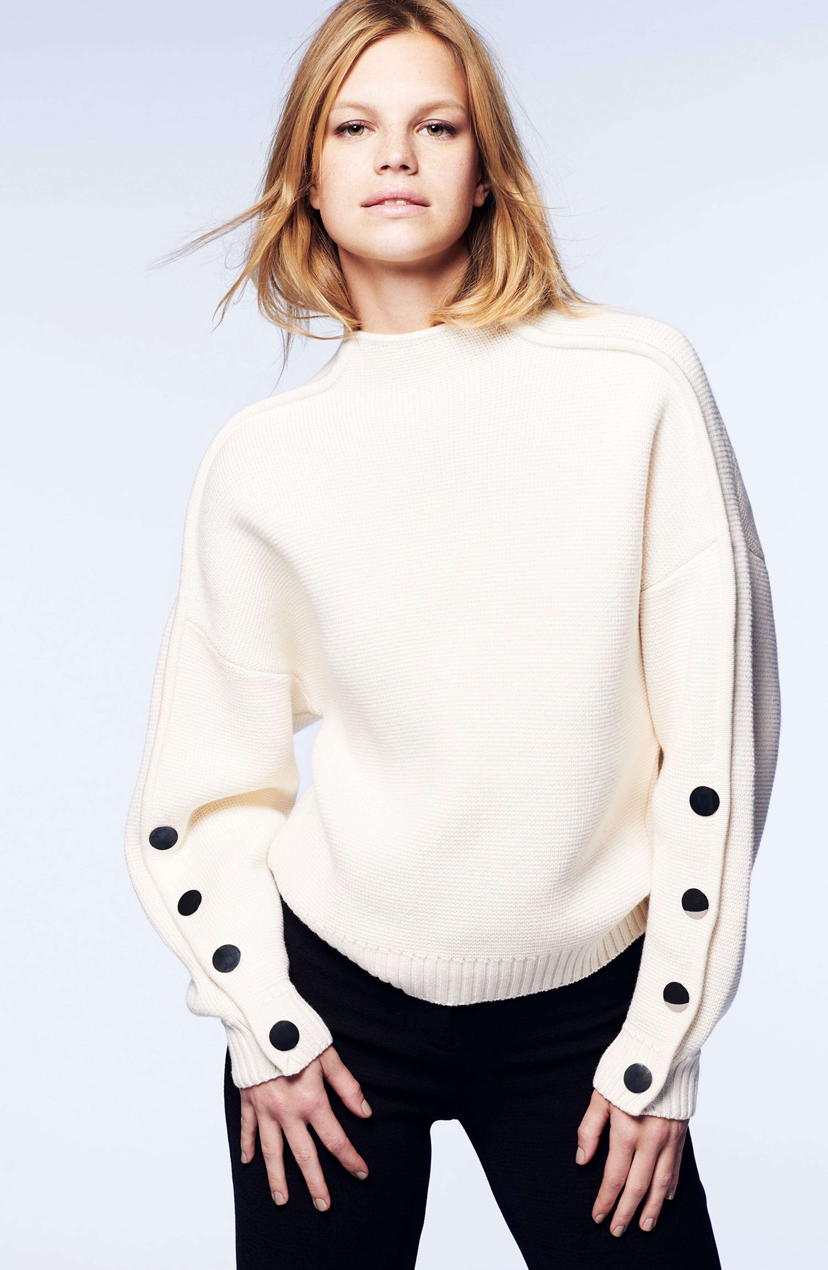 Astana Button Sleeve Waffle Weave Cotton Wool Sweater,                             Alternate thumbnail 7, color,                             900