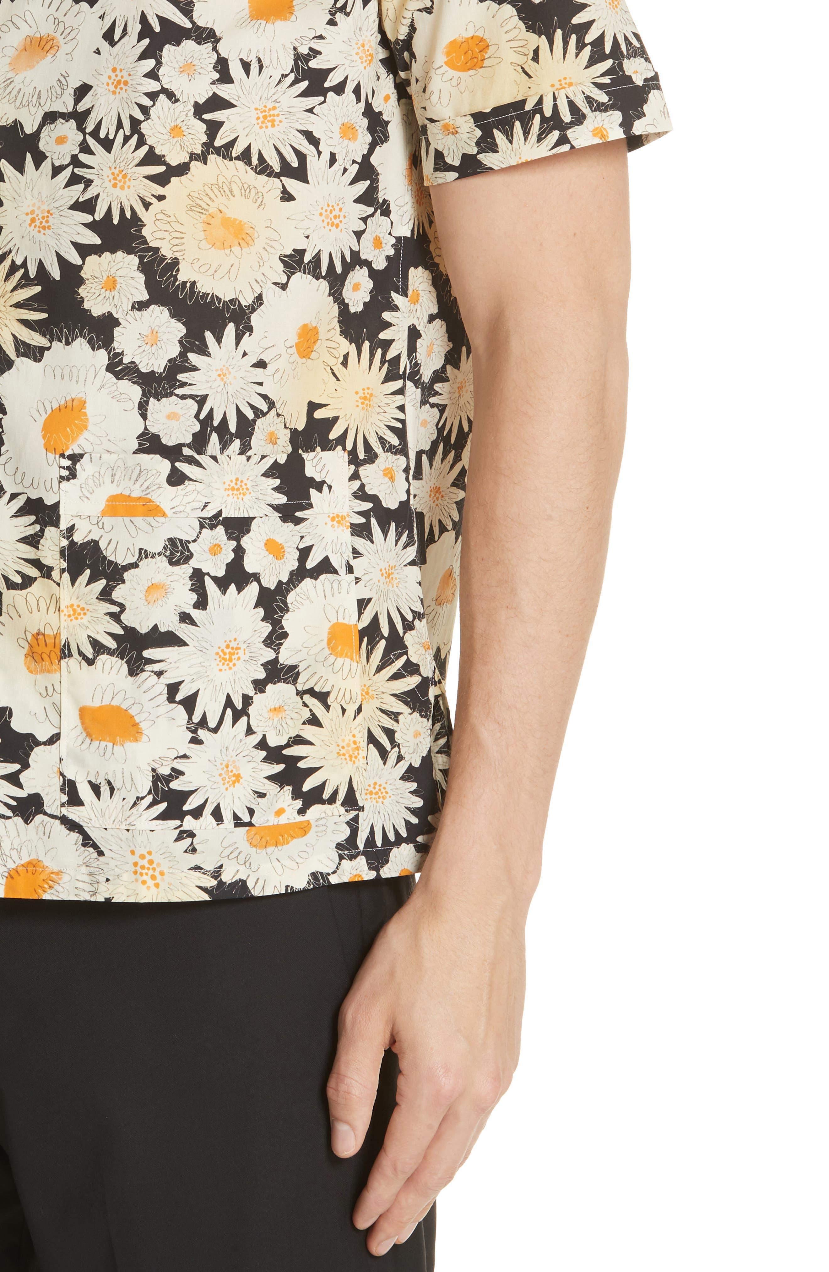 Jude Floral Print Shirt,                             Alternate thumbnail 4, color,                             001