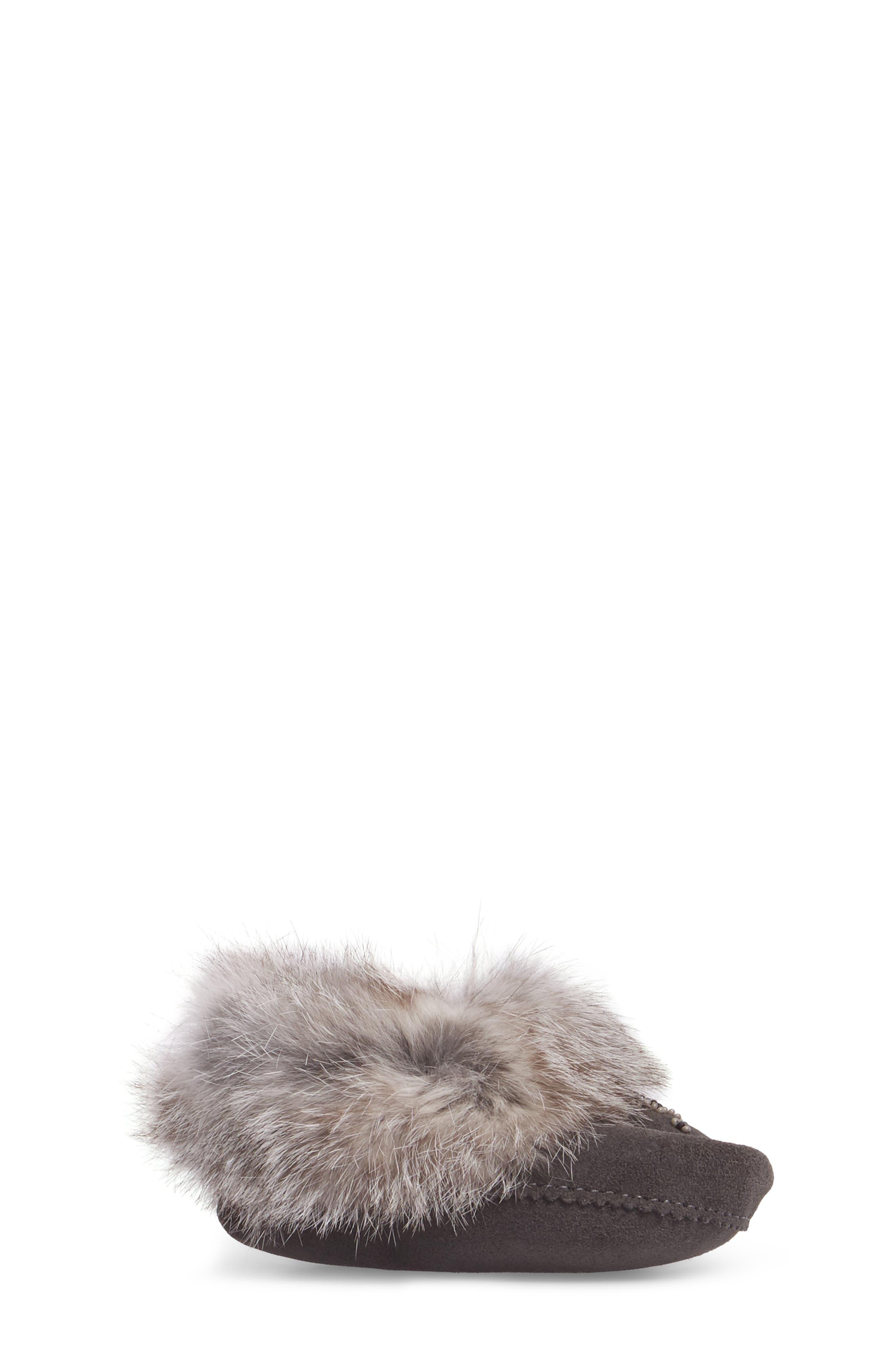 Genuine Rabbit Fur Moccasin,                             Alternate thumbnail 14, color,