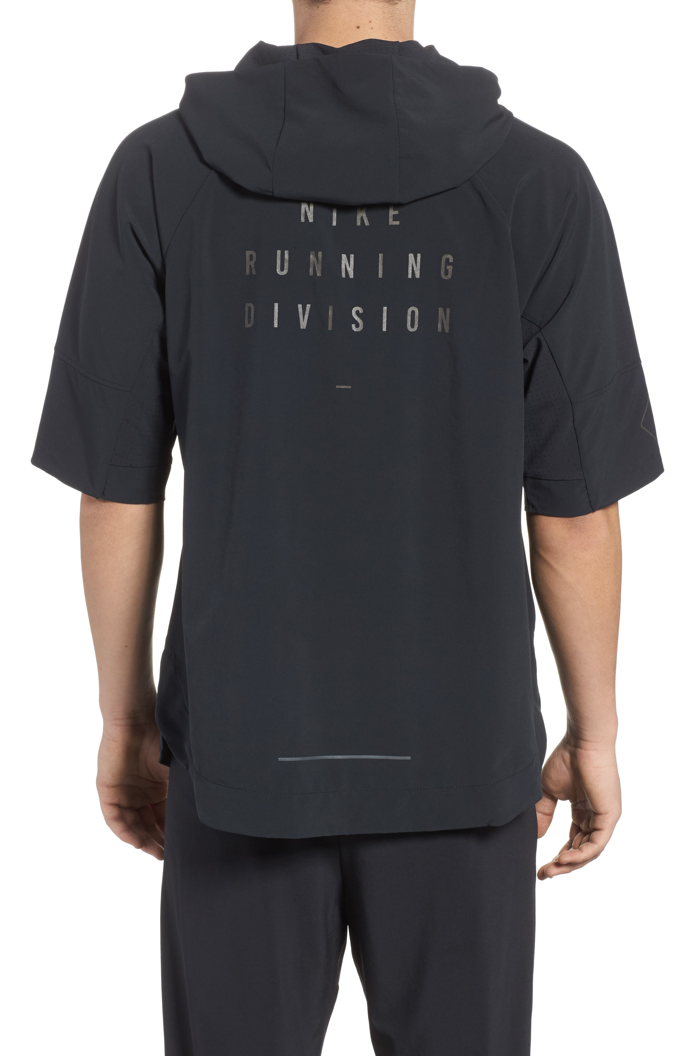 Running Division Short Sleeve DWR Running Hoodie,                             Alternate thumbnail 2, color,                             010